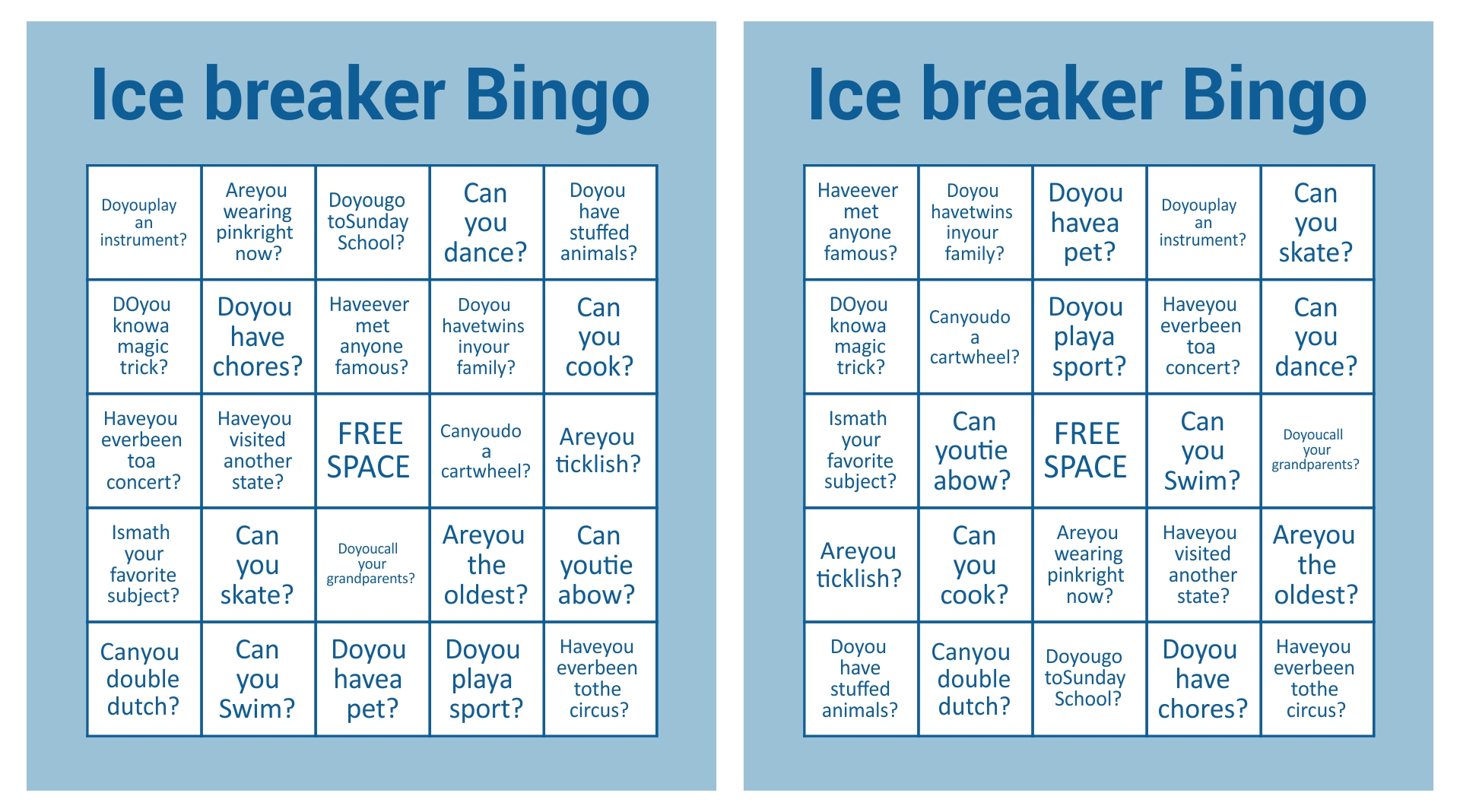 Printable Christmas Bingo Ice Breaker