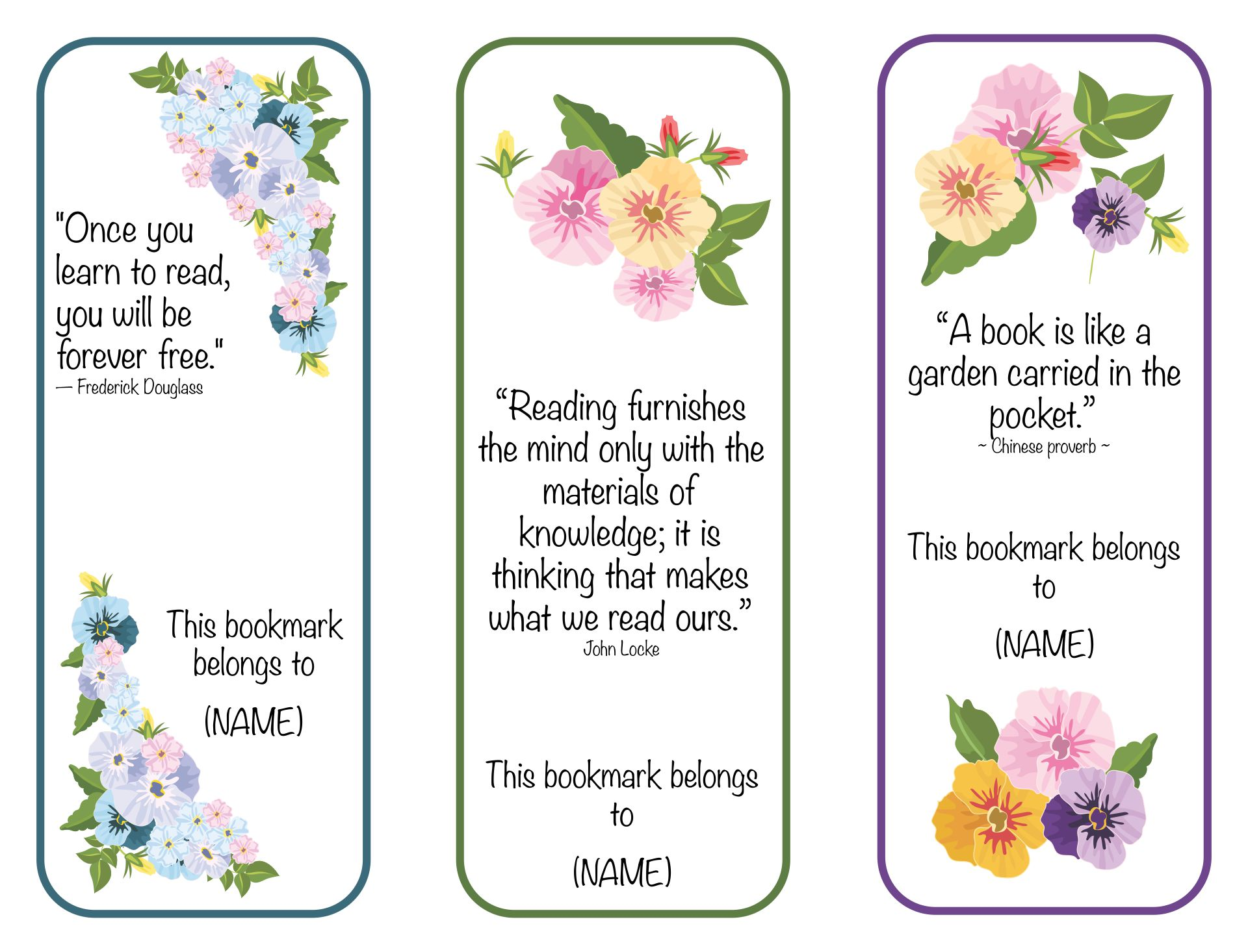 Obituary Bookmarks  Printable