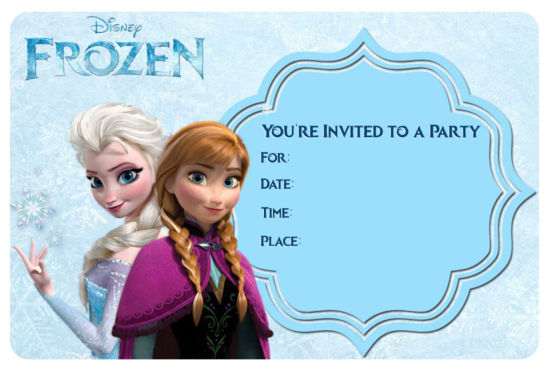 Frozen Birthday Invitations Editable Printable