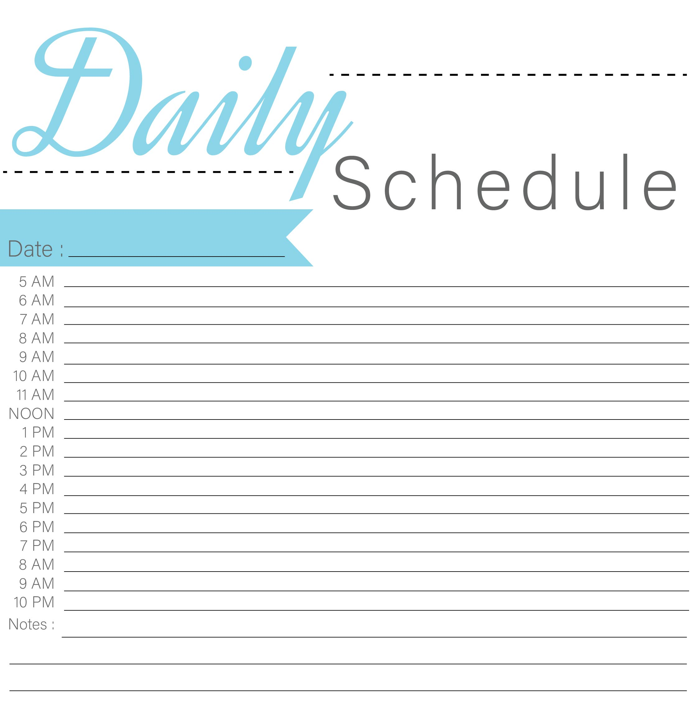 Printable Blank Daily Schedule