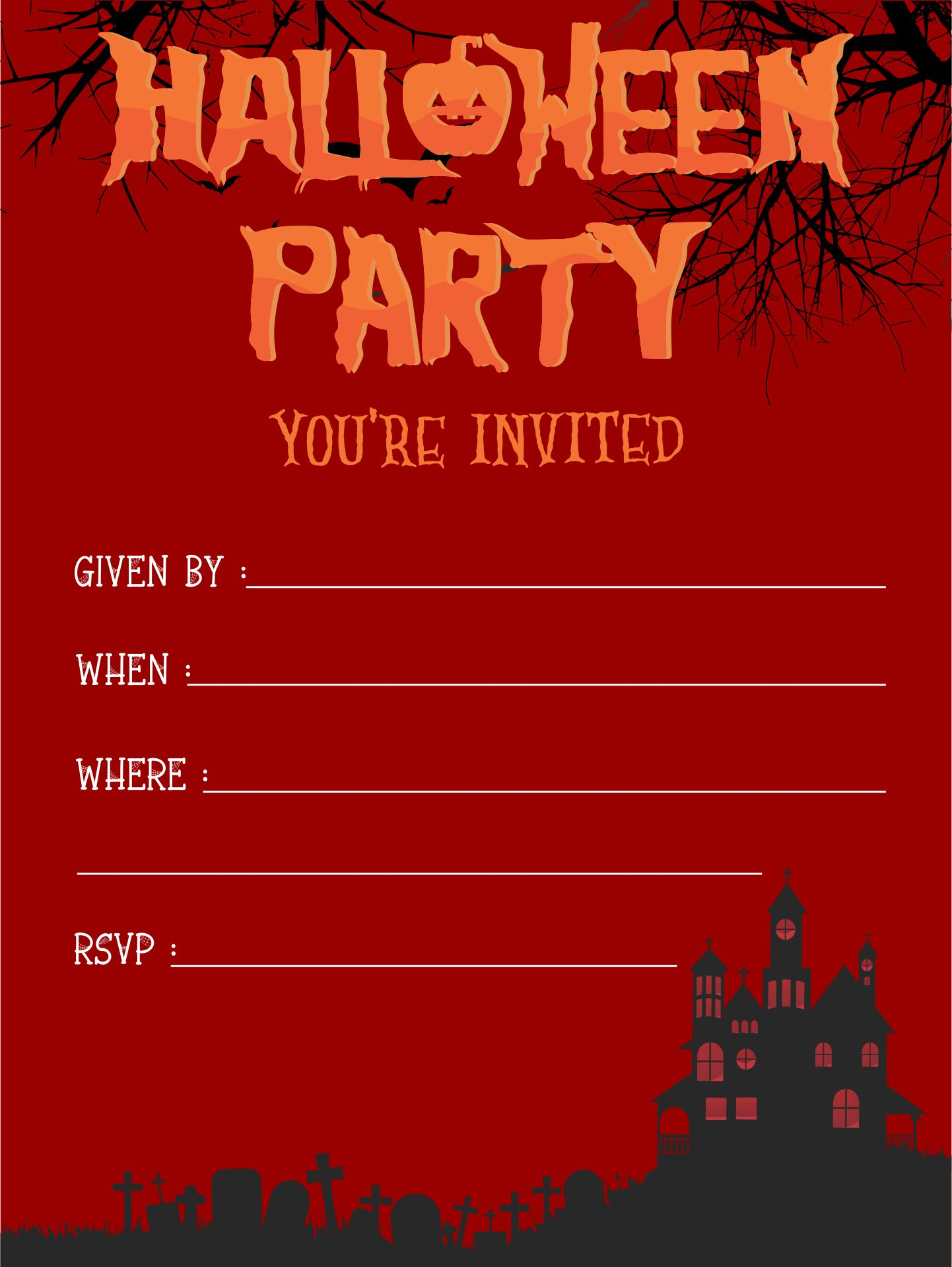 Scary Printable Halloween Invitations