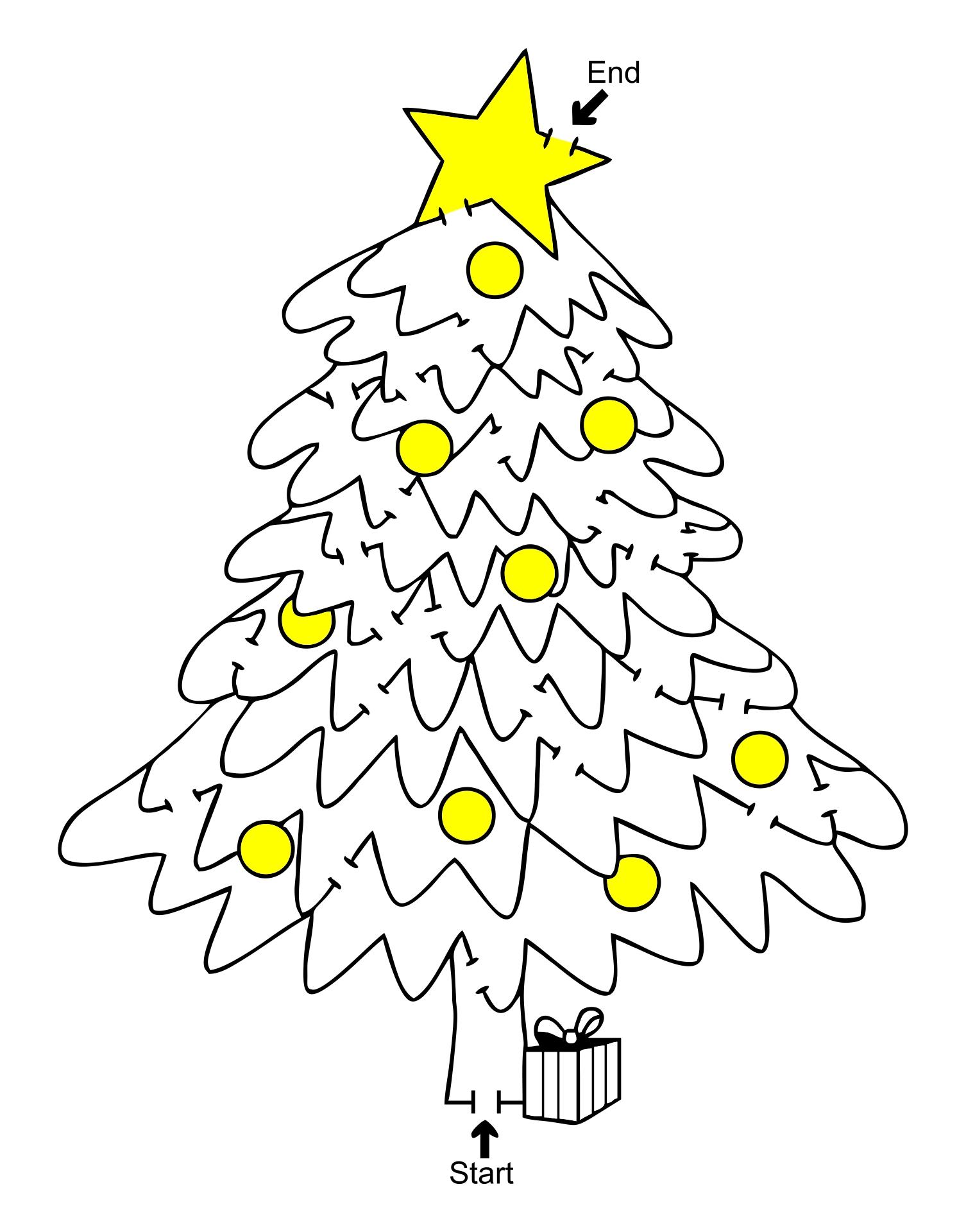 Christmas Tree Maze Hard Printable