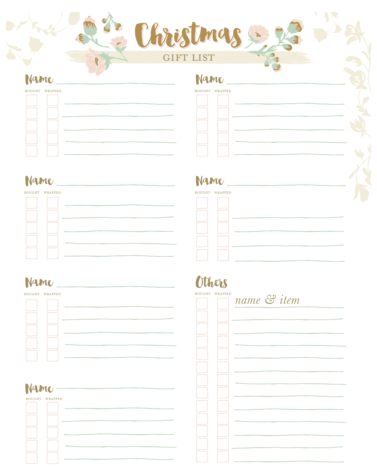 Printable Christmas Organization Lists