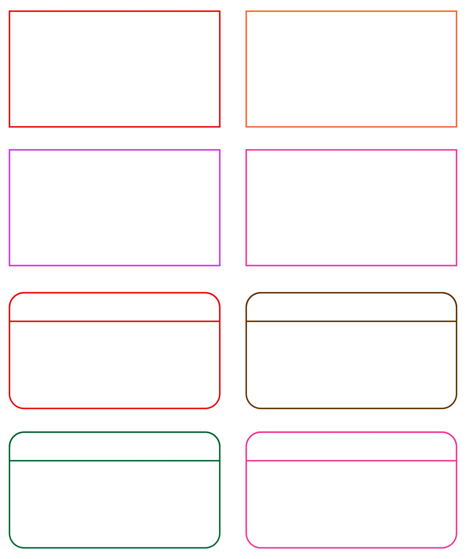 Card Word Template Printable