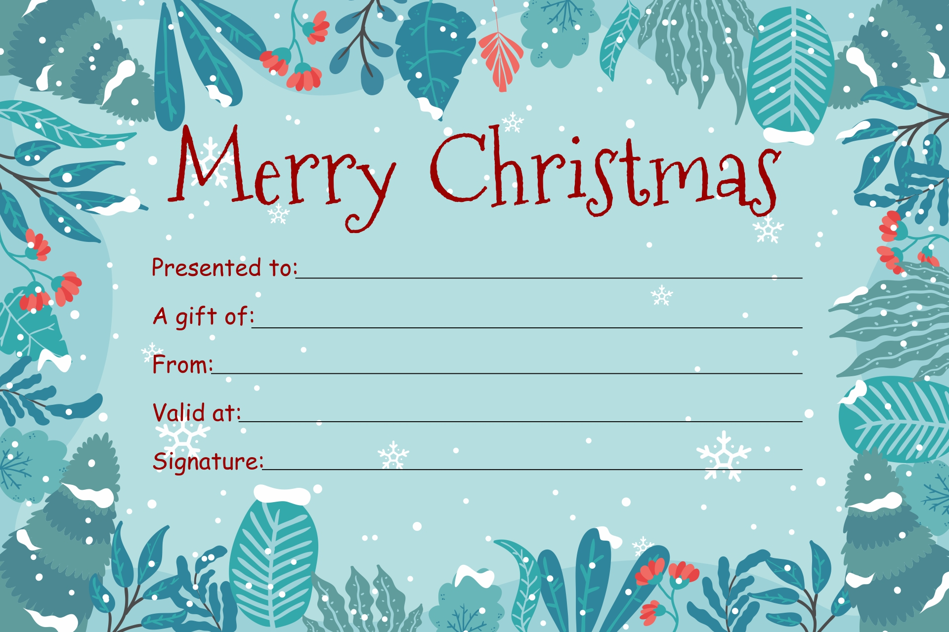Printable Holiday Gift Certificate Template