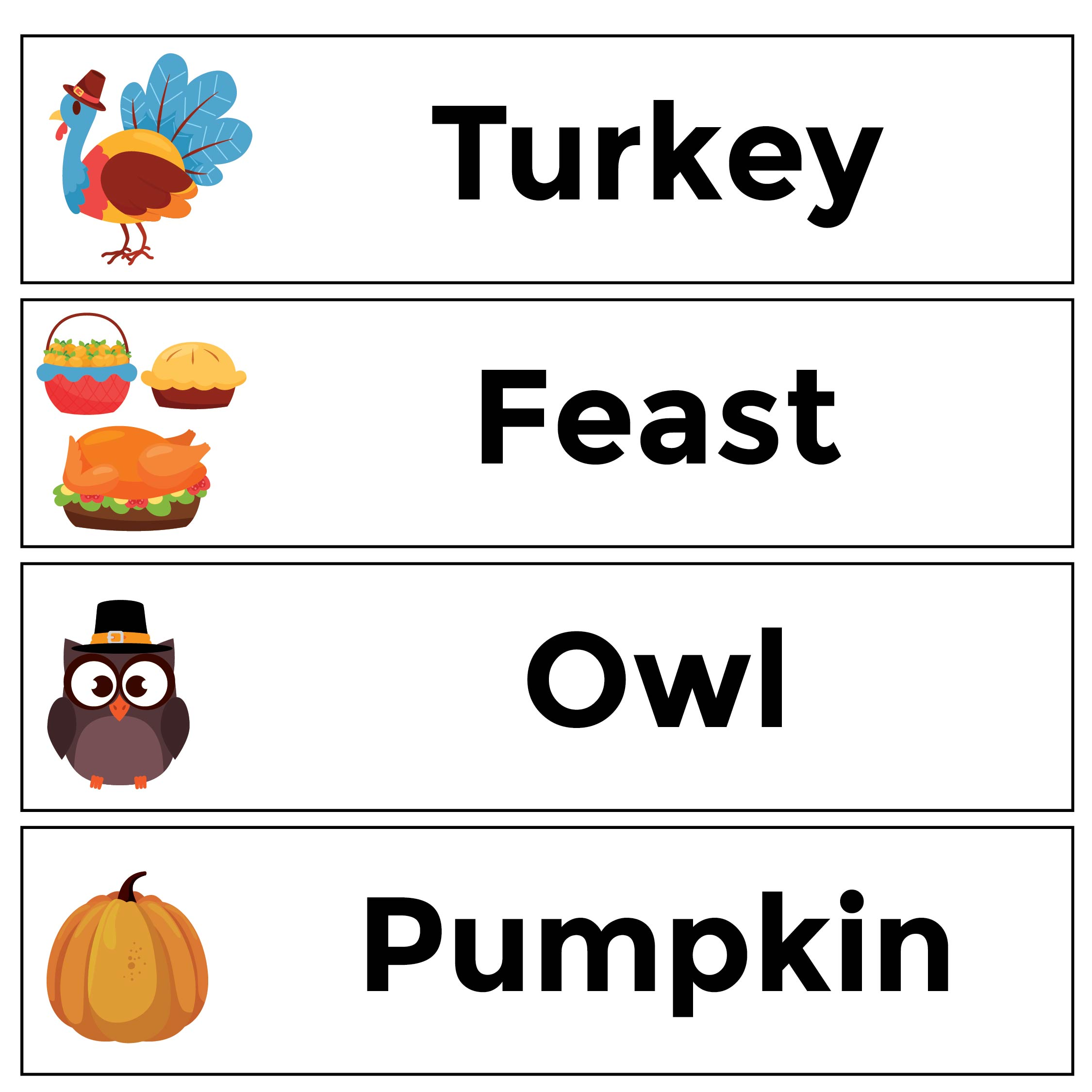 Printable Thanksgiving Word Wall