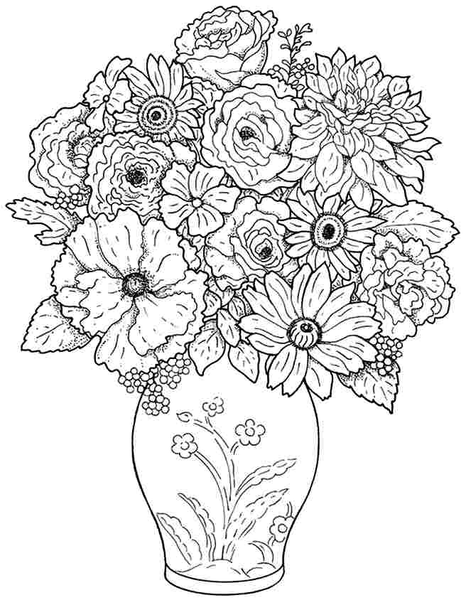 9 best images of bouquet of flowers printable flower for Bouquet of flowers coloring page