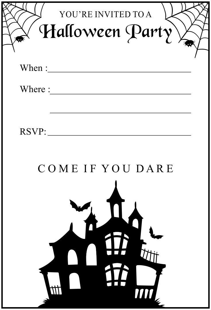 Halloween Birthday Invitations Printable Black & White