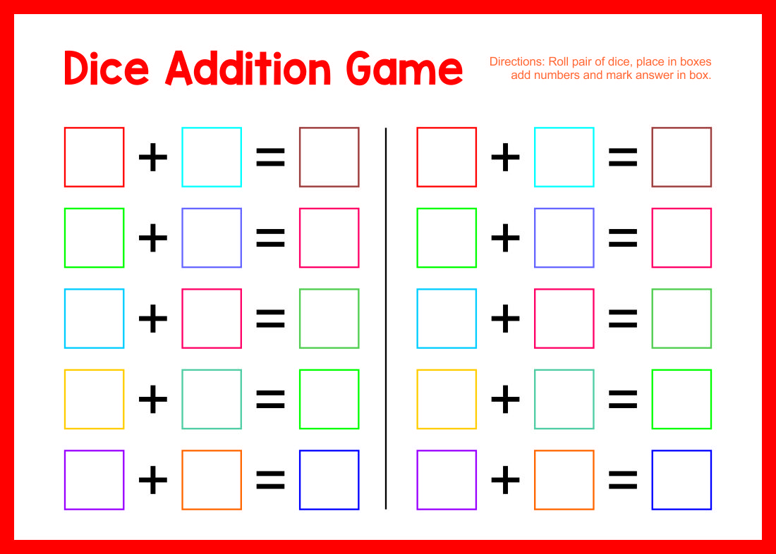 Printable Addition Board Games