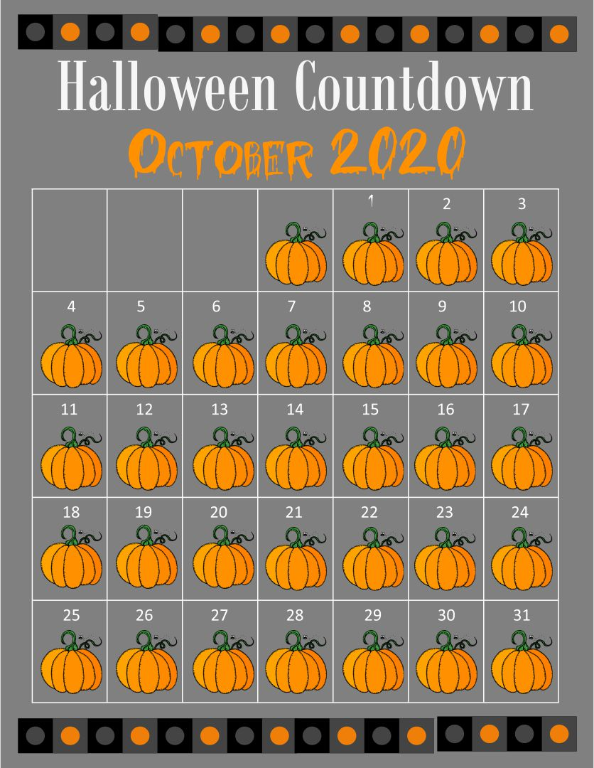 Halloween October 2014 Calendar Printable