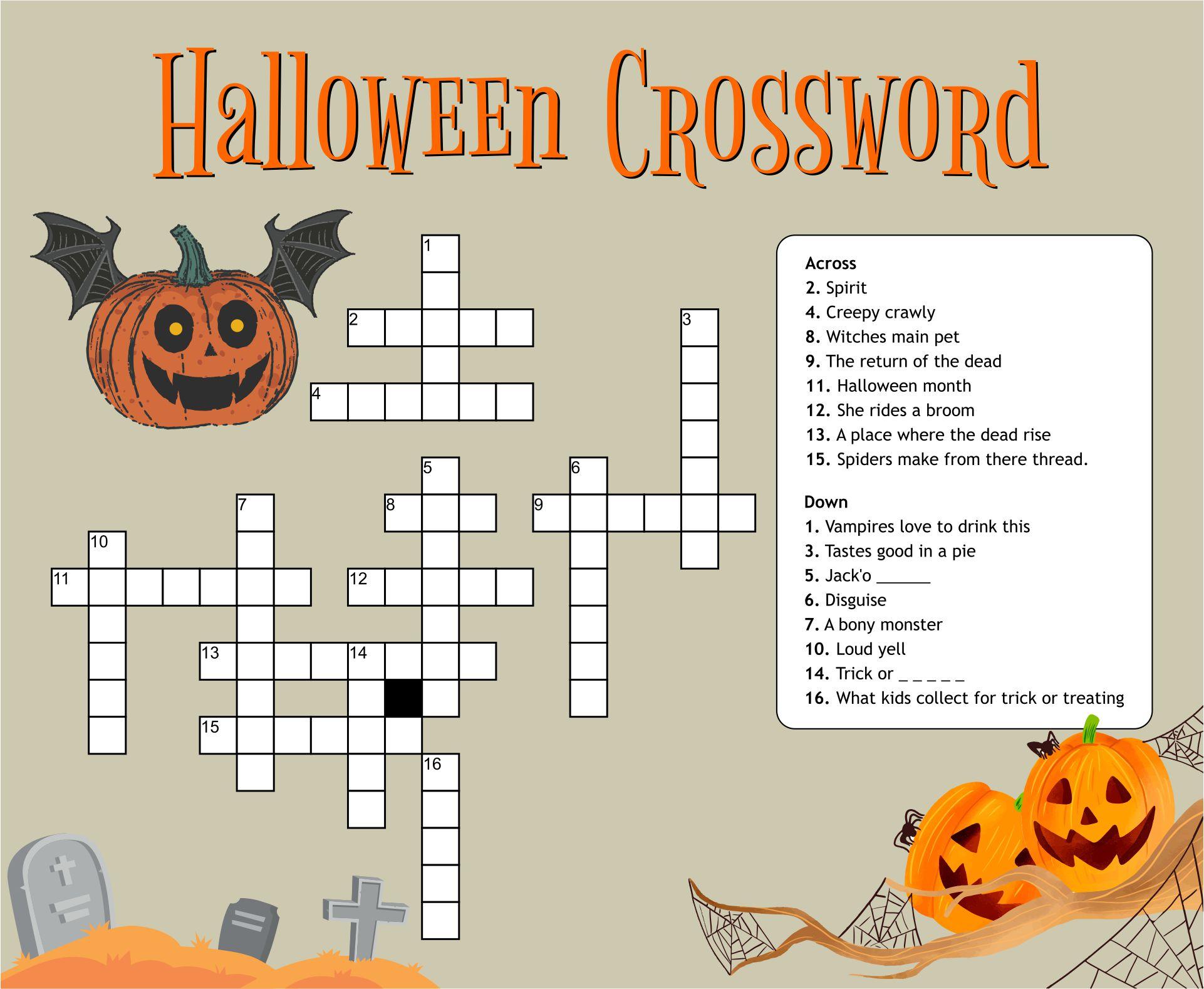 Halloween Easy Printable Crossword Puzzles