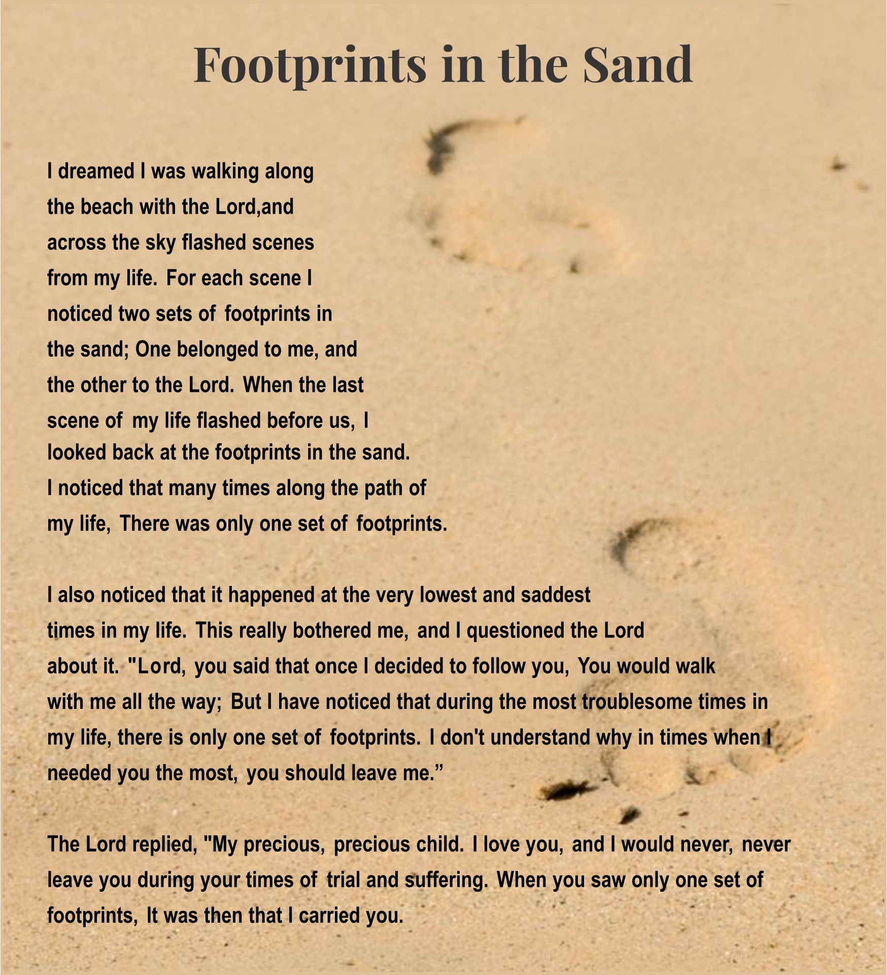 Printable Footprints In The Sand
