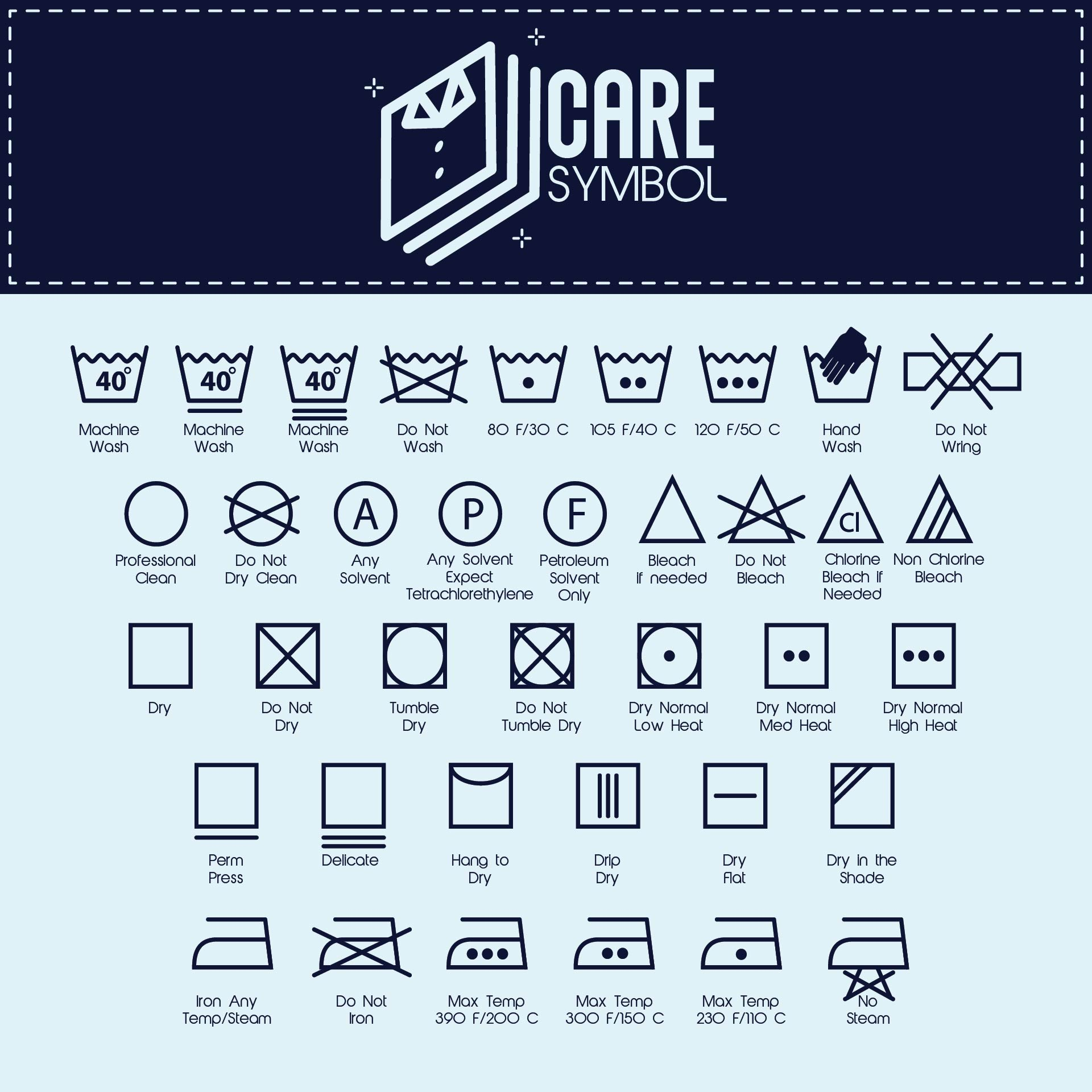 Printable Laundry Care Symbol Chart