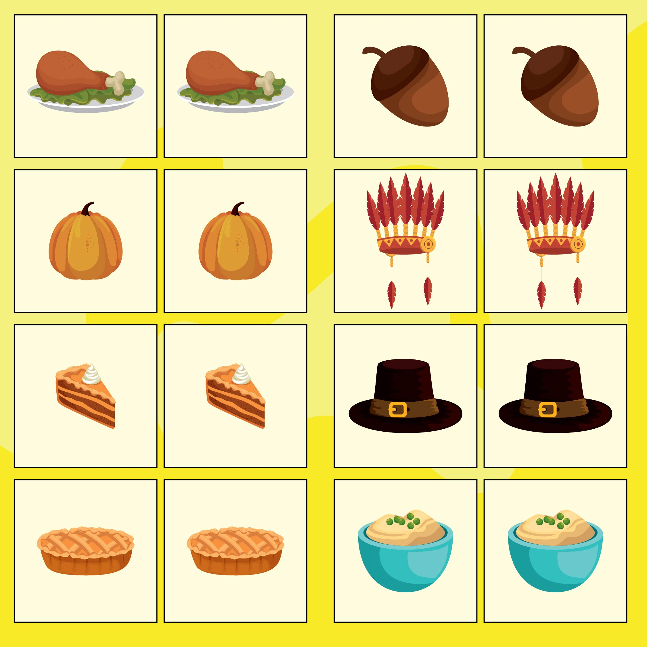 Printable Thanksgiving Memory Game