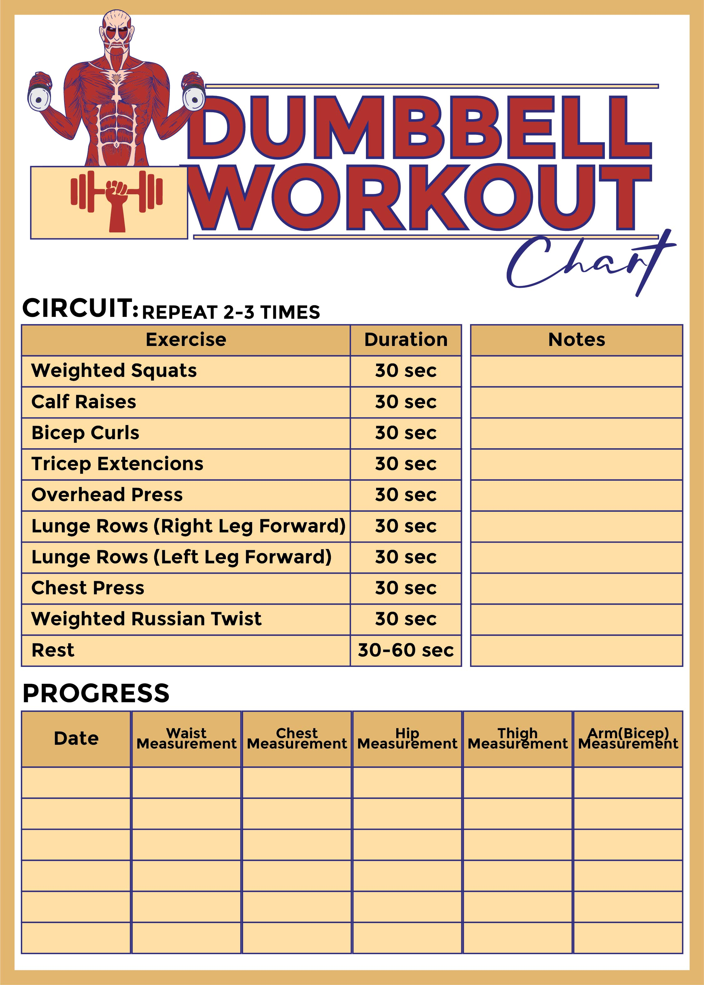 Printable Workout Charts
