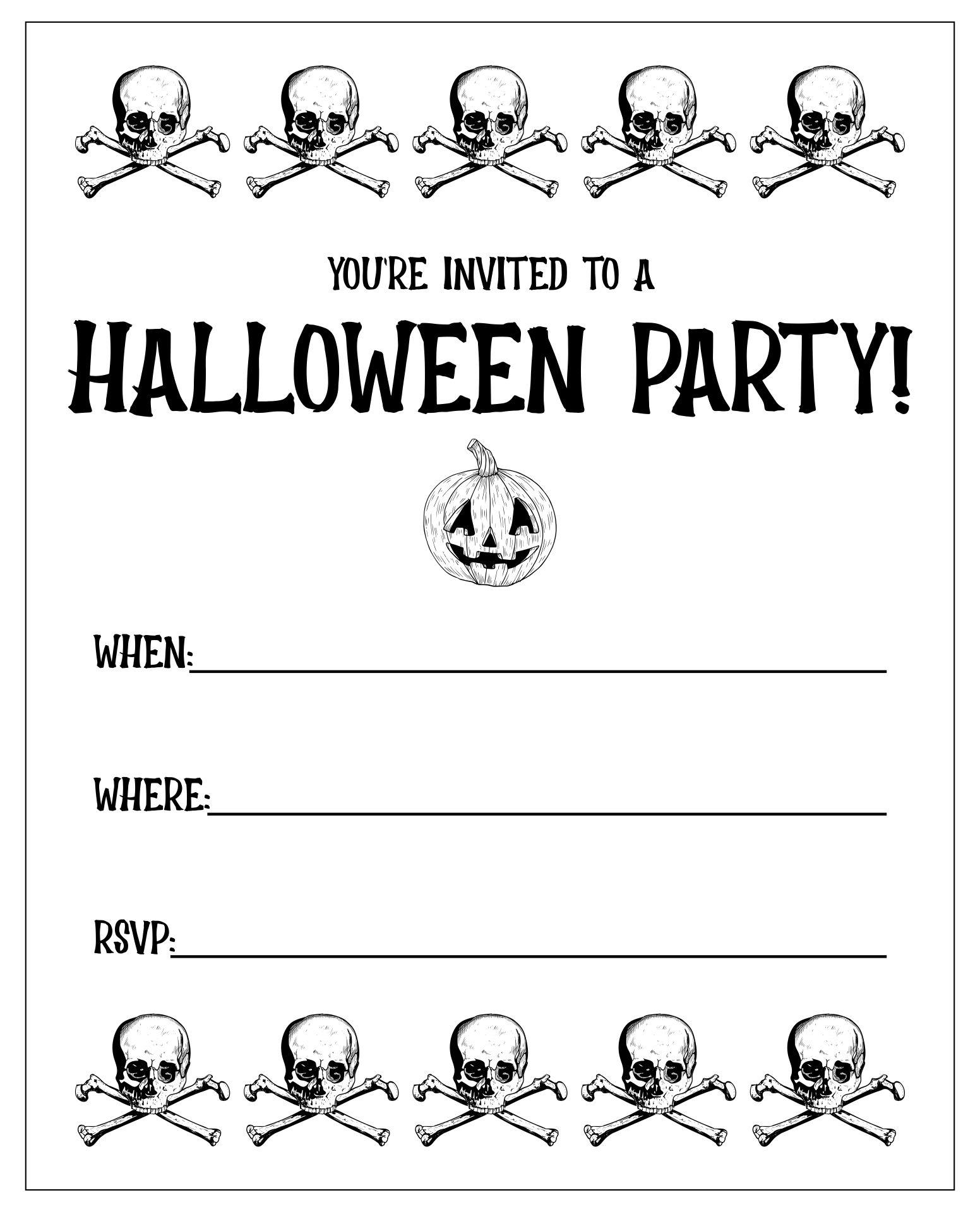 Happy Halloween Printable Party Invites