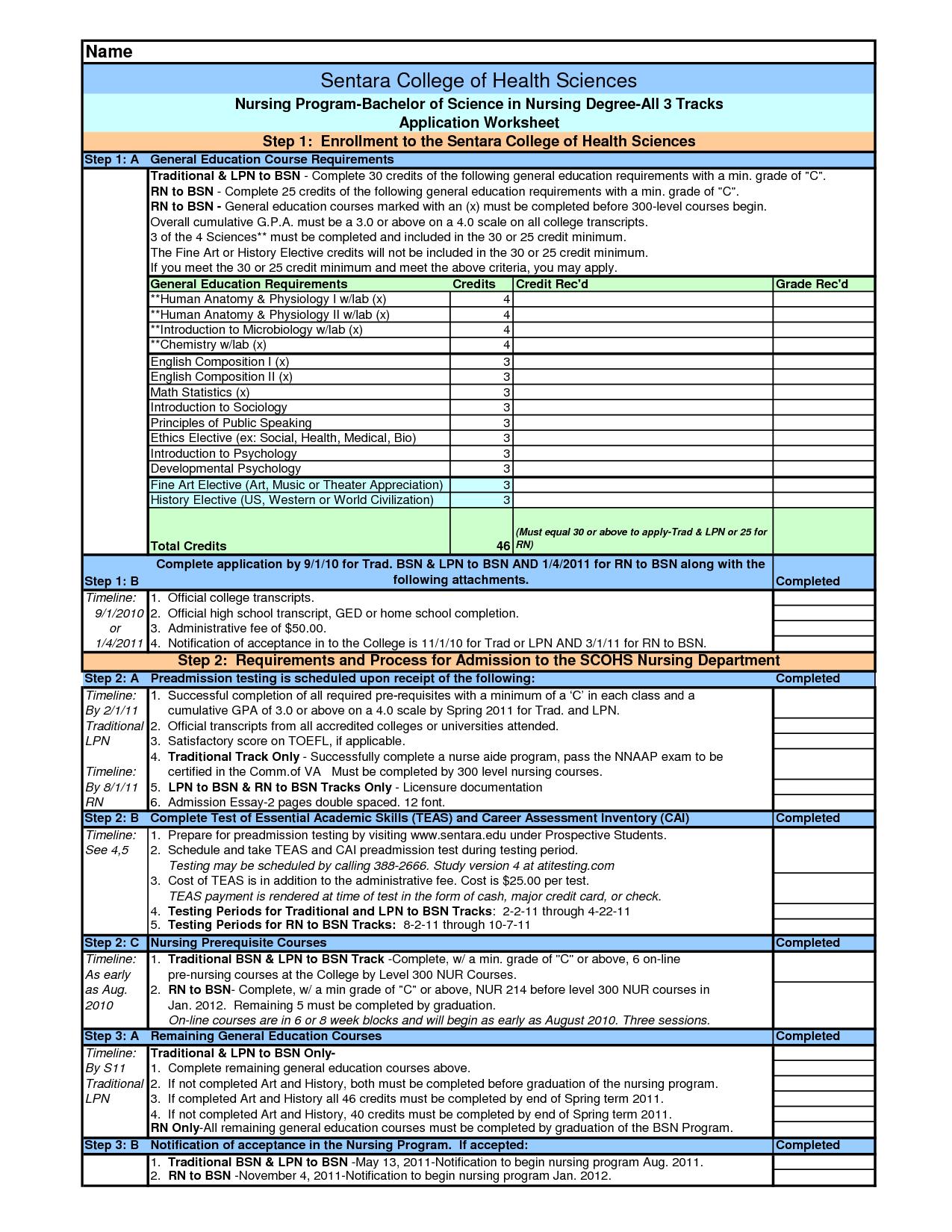Printable College Worksheets
