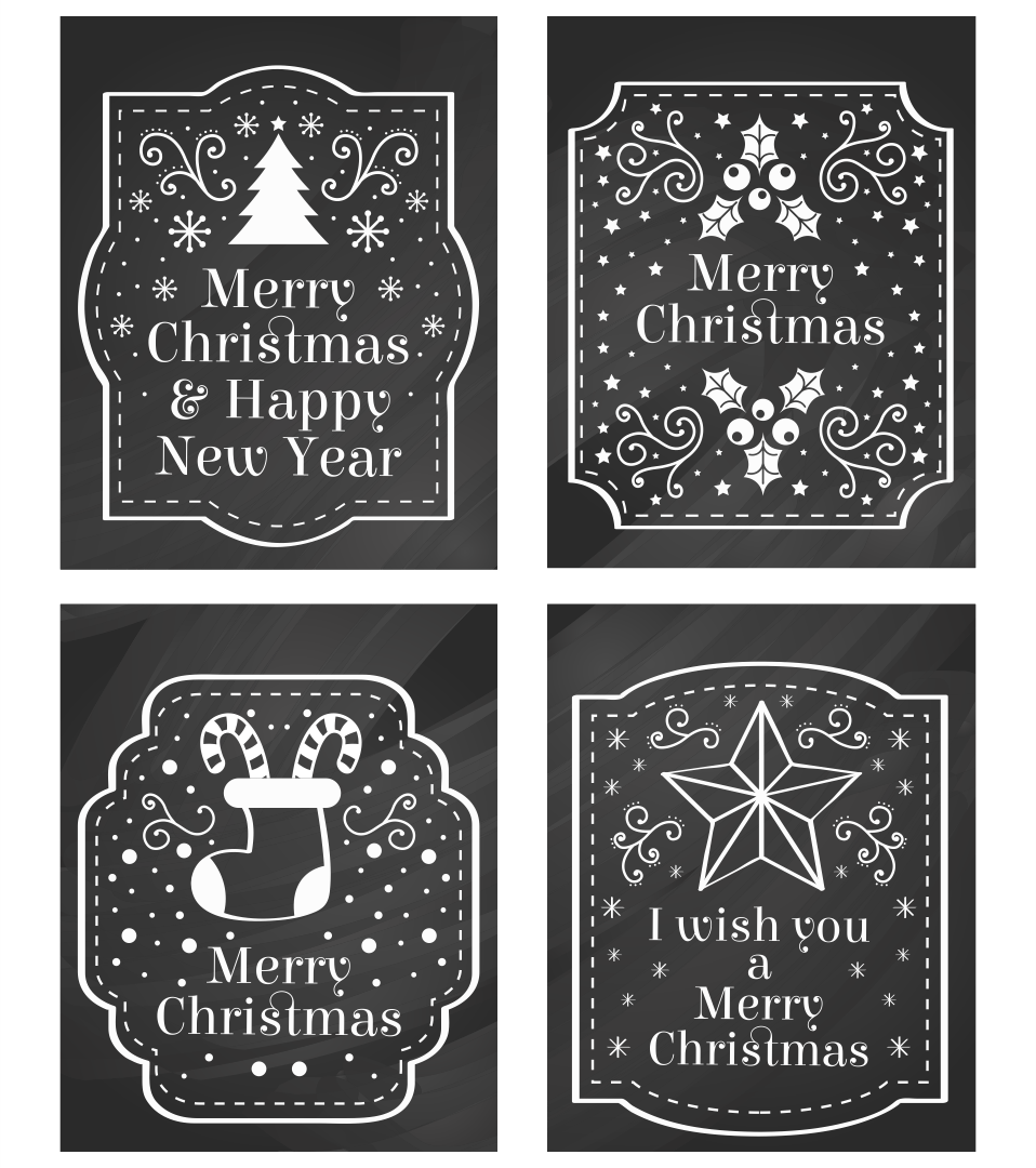 Chalkboard Christmas Printable Tags