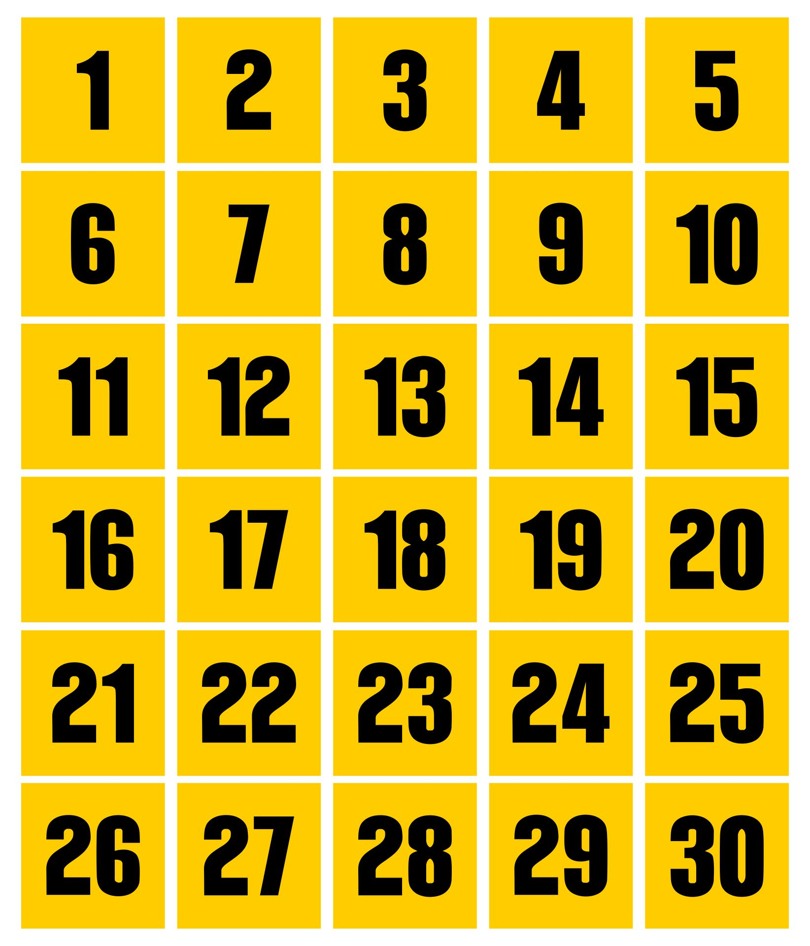 Large Printable Numbers 1 30