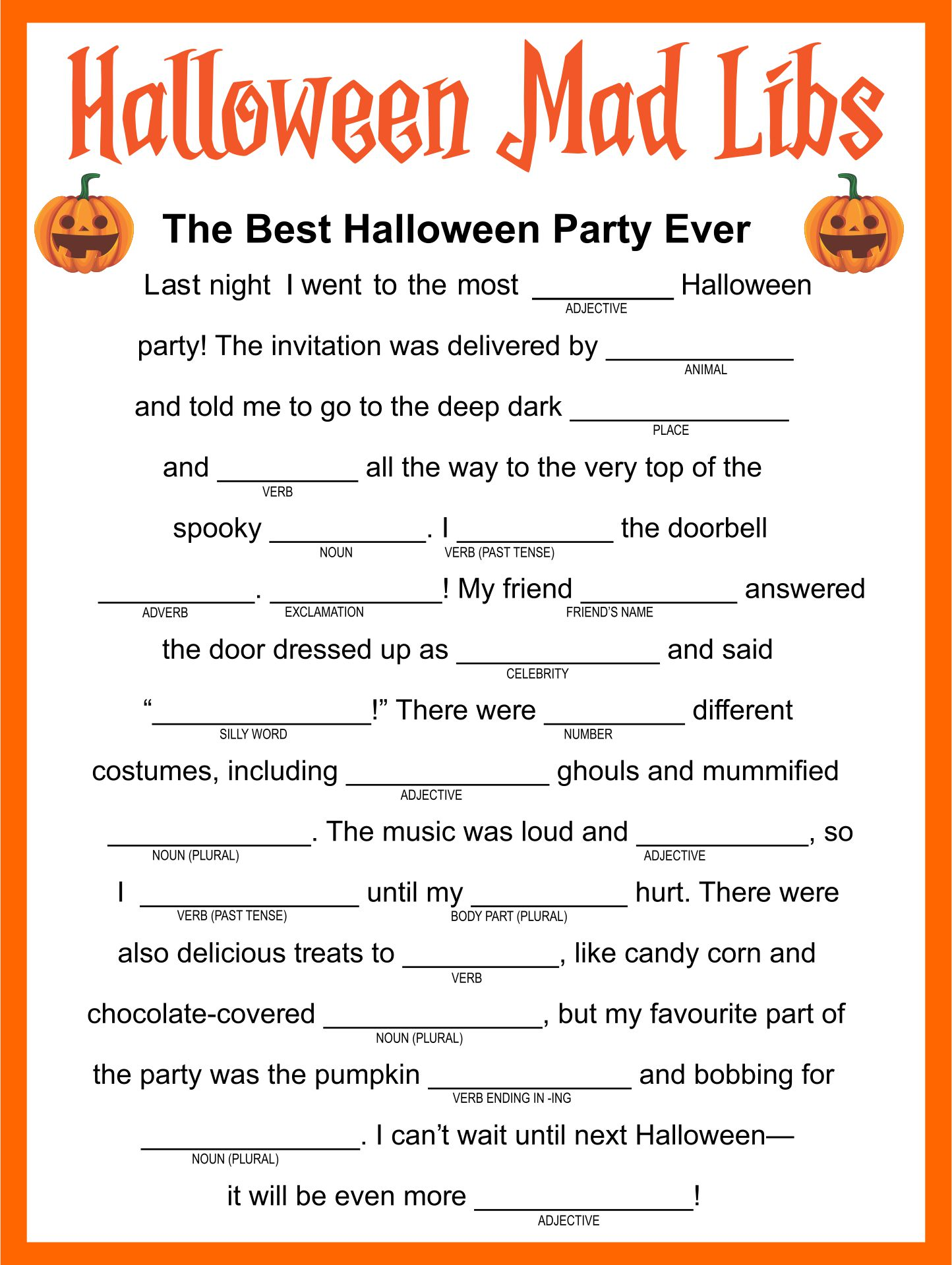 Halloween Mad Libs Printable Worksheets