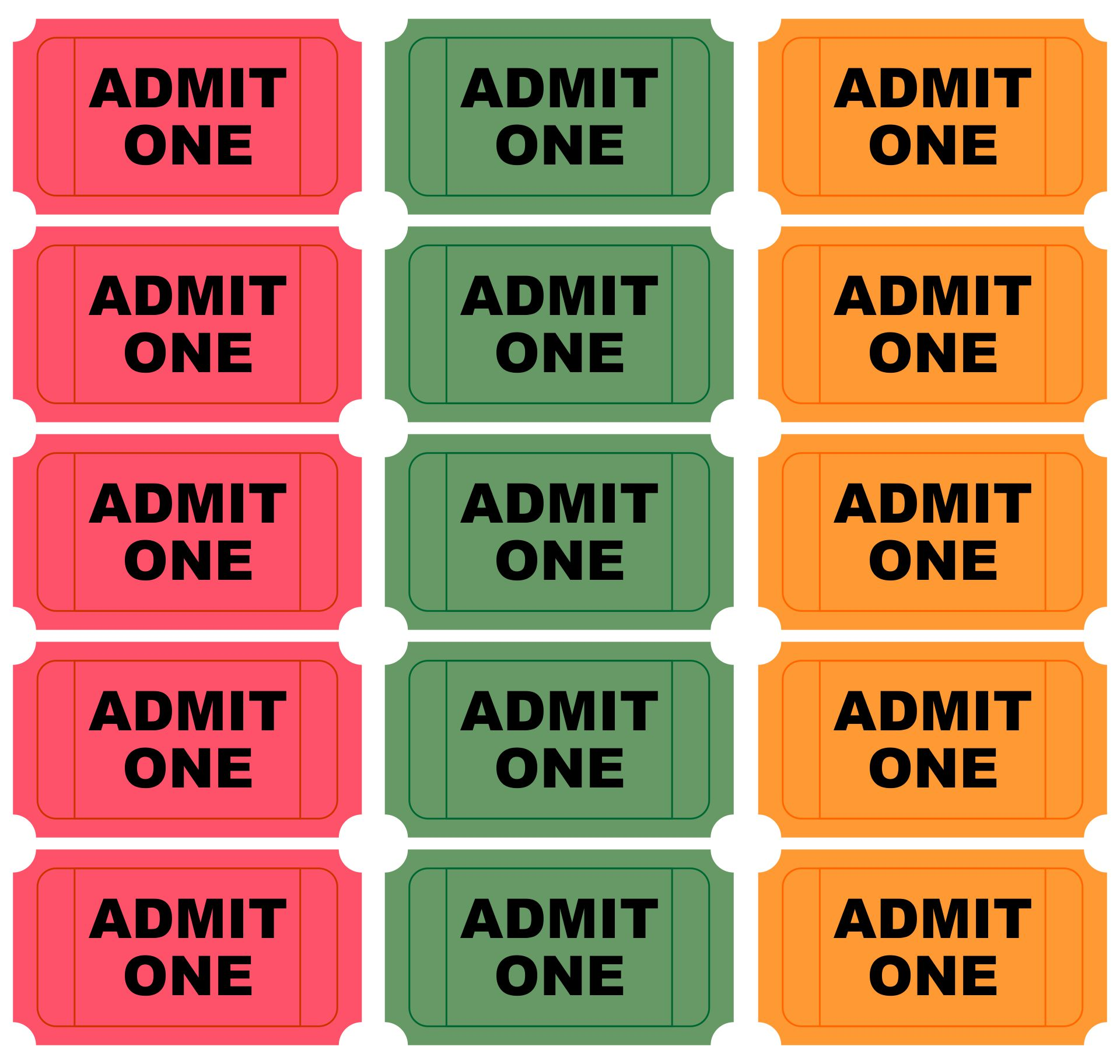 Printable Admit One Ticket Templates