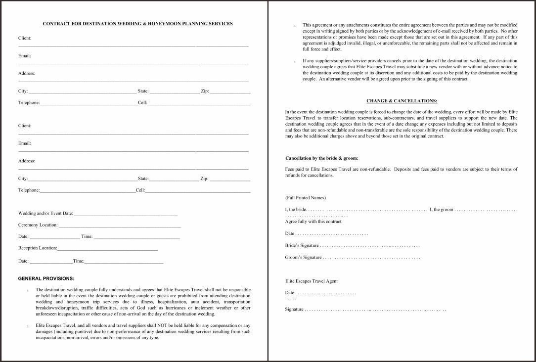 Printable Wedding Planner Contract Agreement
