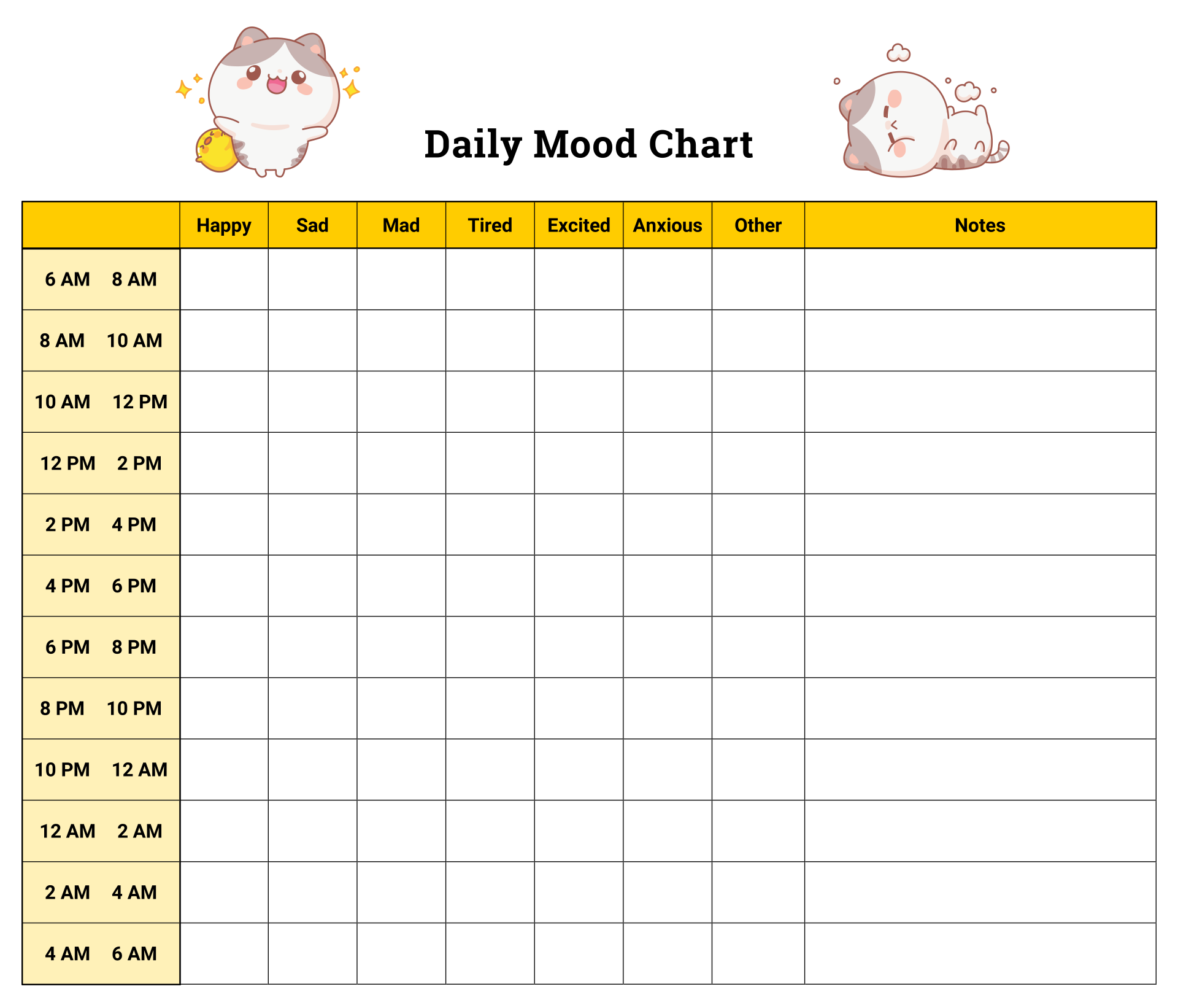 Printable Daily Mood Chart