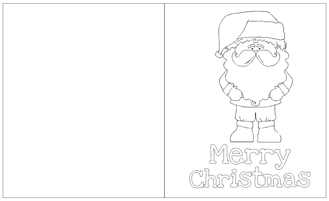 Printable Foldable Coloring Christmas Cards