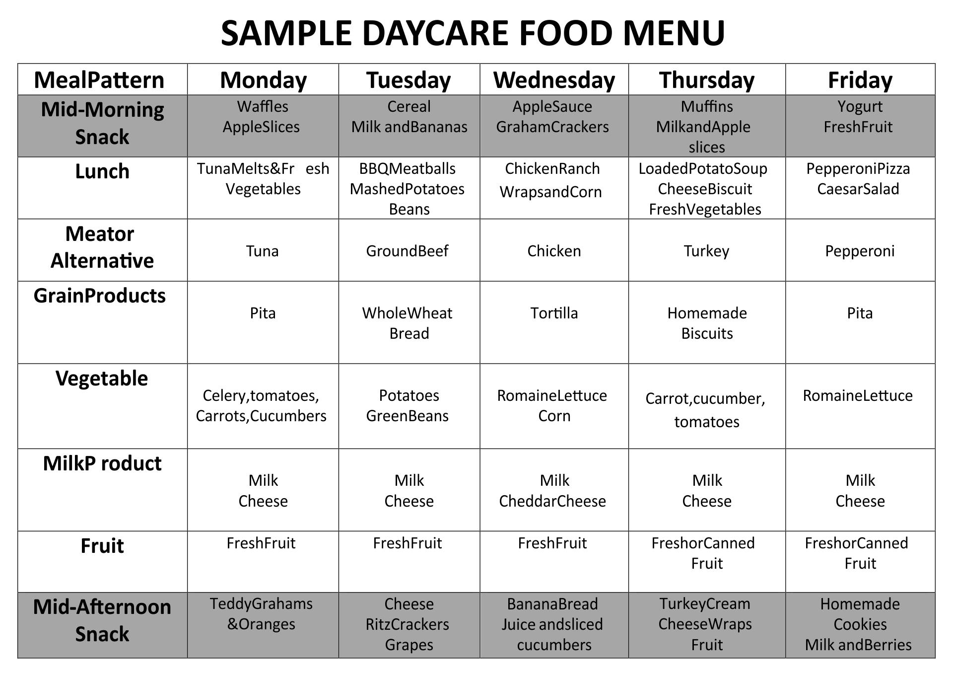 Printable Sample Day Care Menu Food