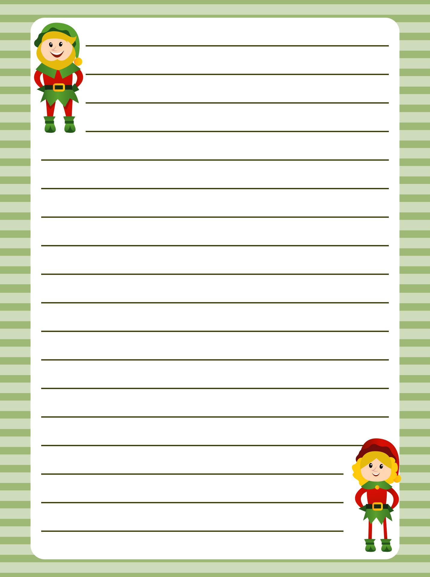 Christmas Elf Writing Paper Printable