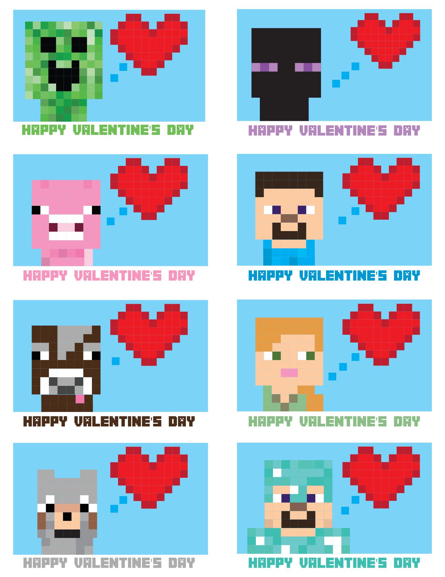 Printable Minecraft Valentine Cards