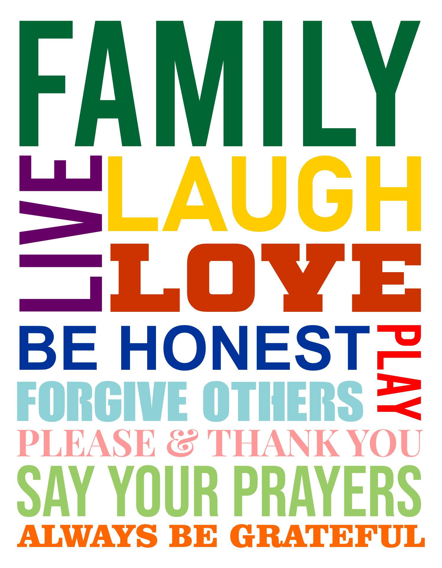 Printable Family Rules Subway Art