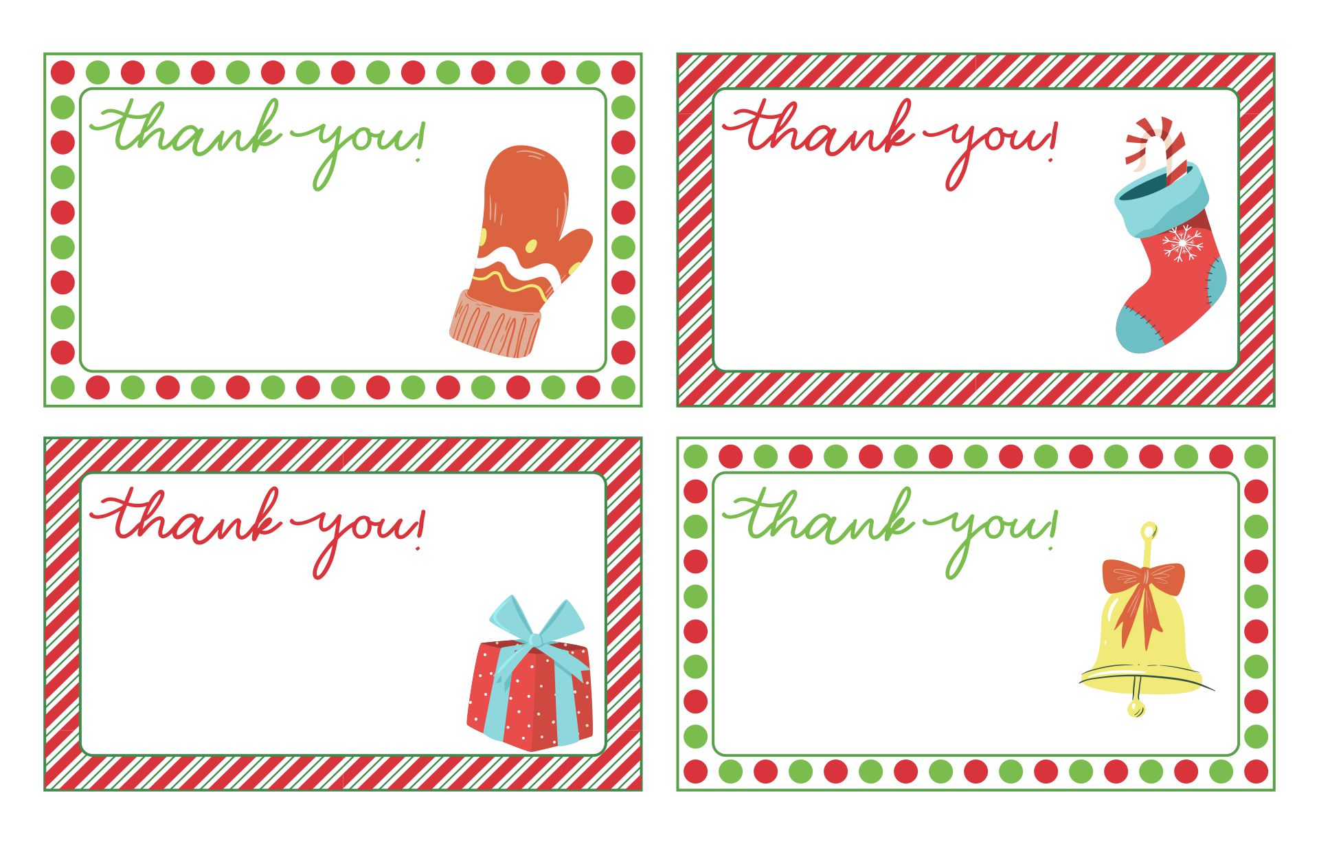 Christmas Thank You Cards  Printables