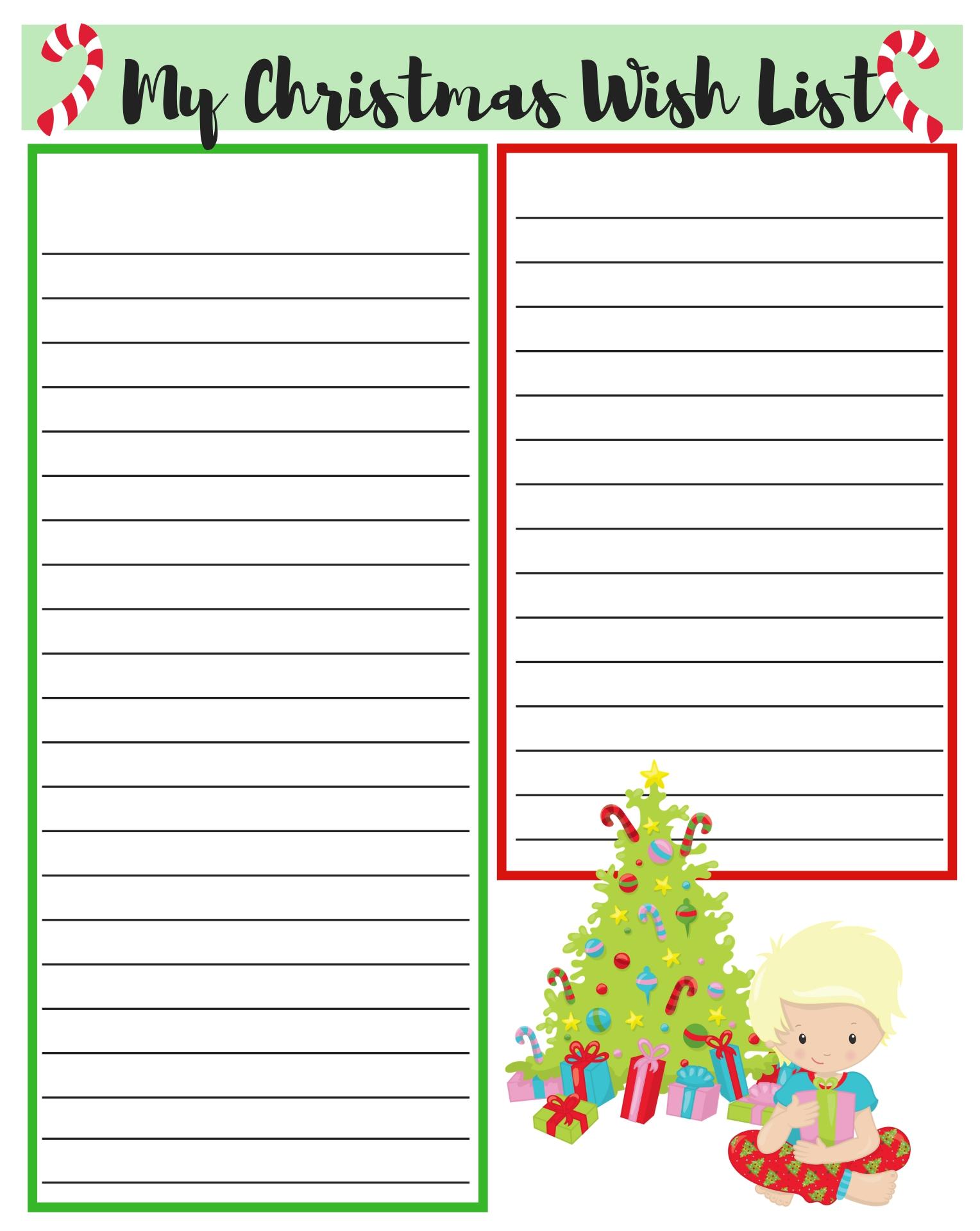 Printable Christmas List Paper