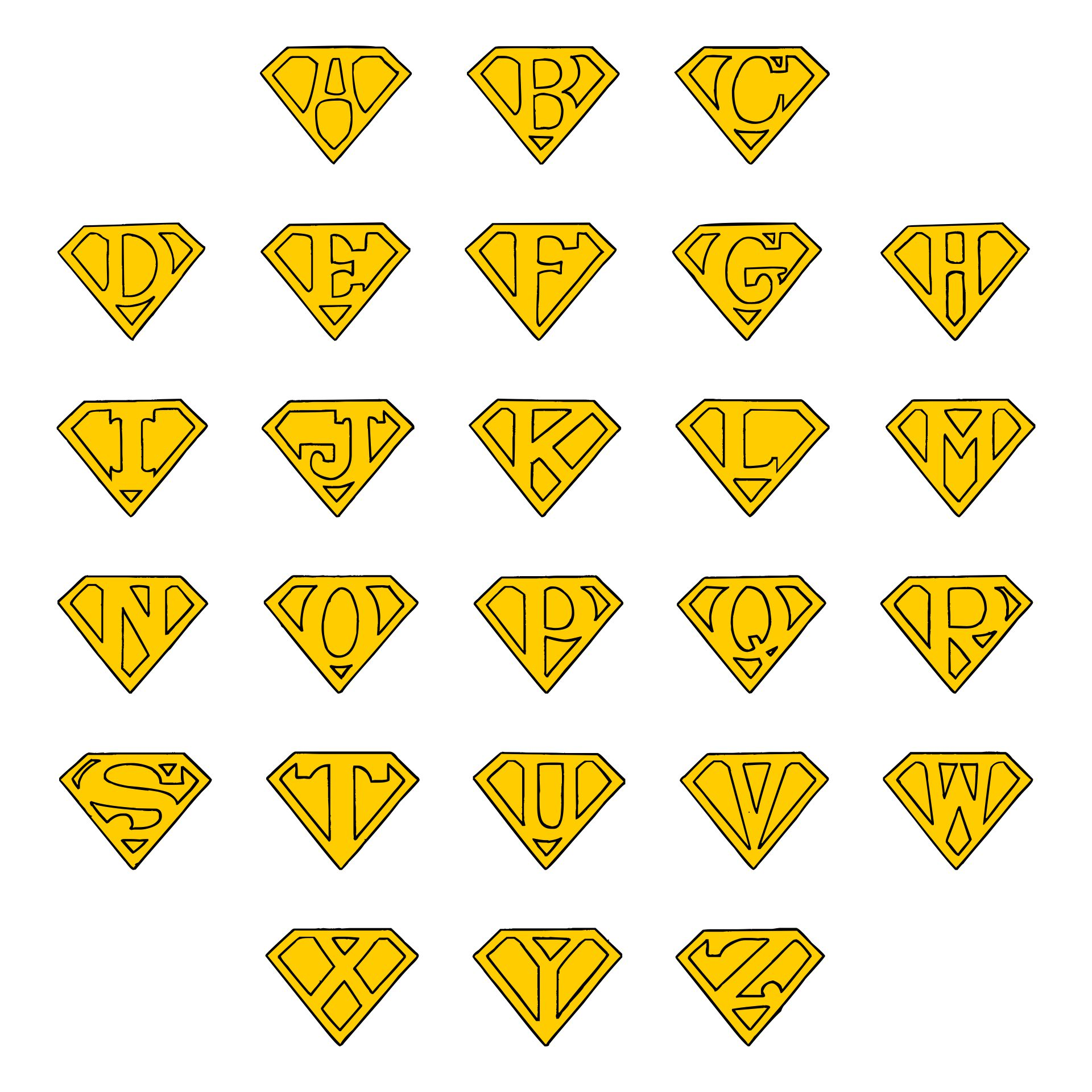 Printable Superman Logo Alphabet