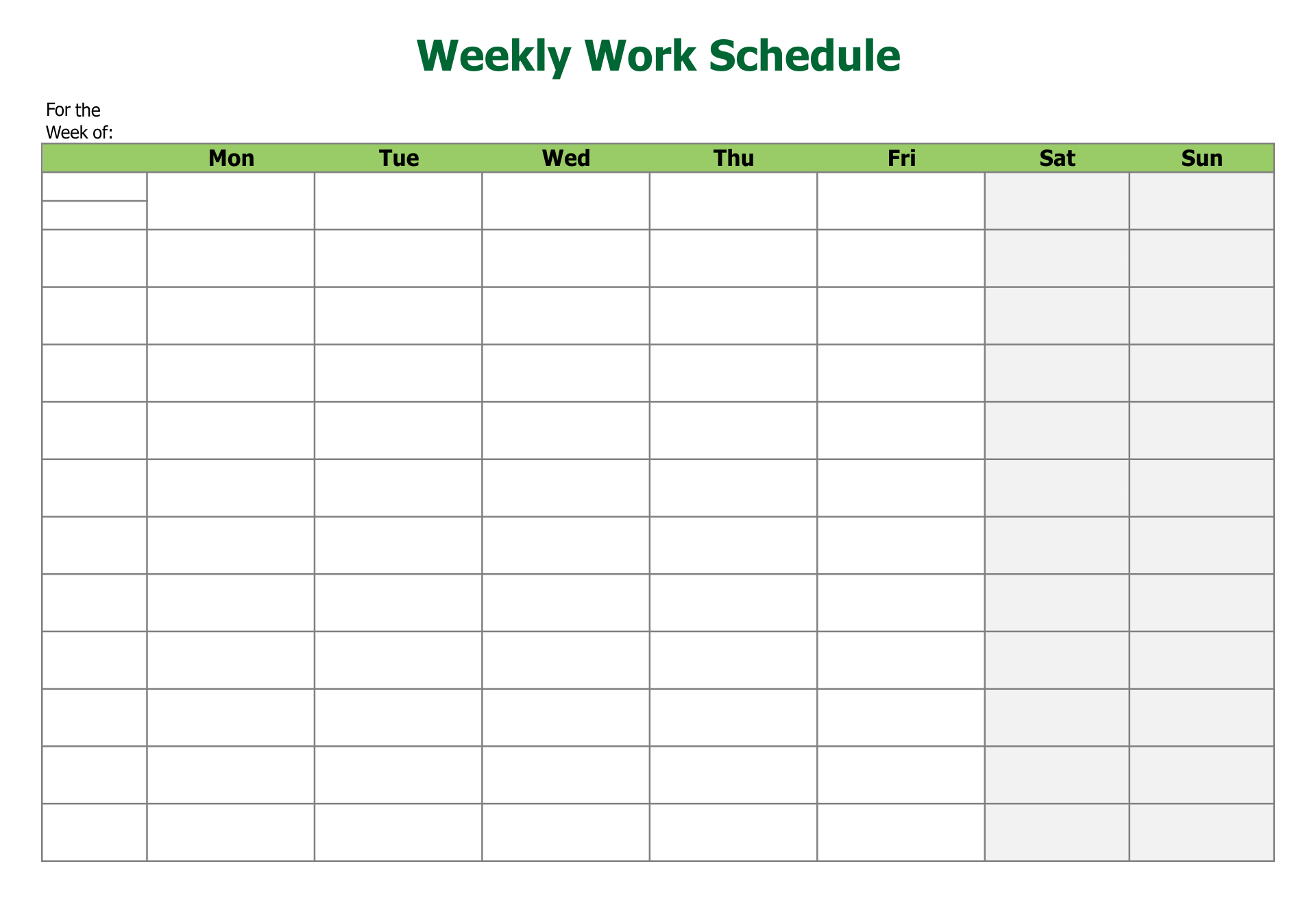 Printable Blank Employee Schedules