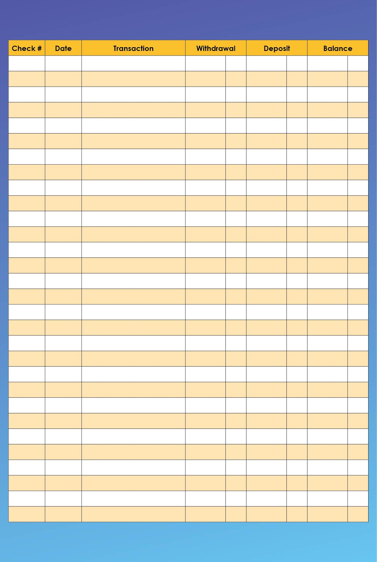 Printable Check Registers For Checkbooks