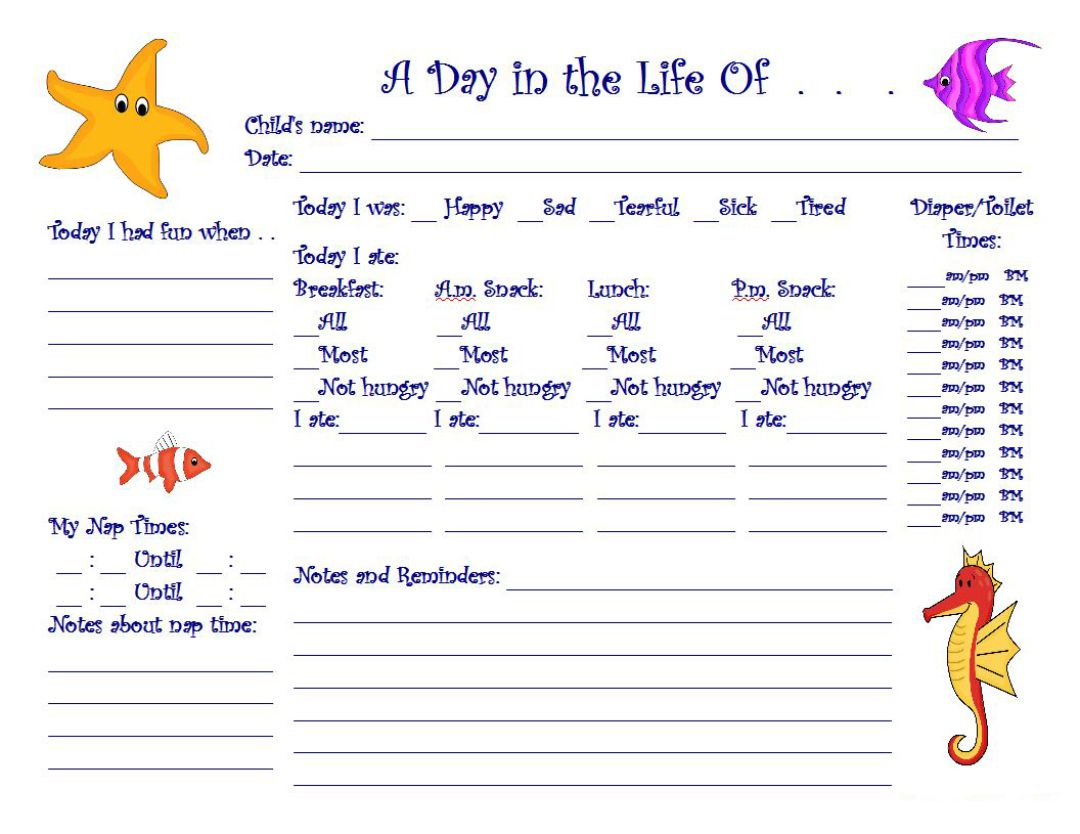 Printable Daily Sheets For Toddlers