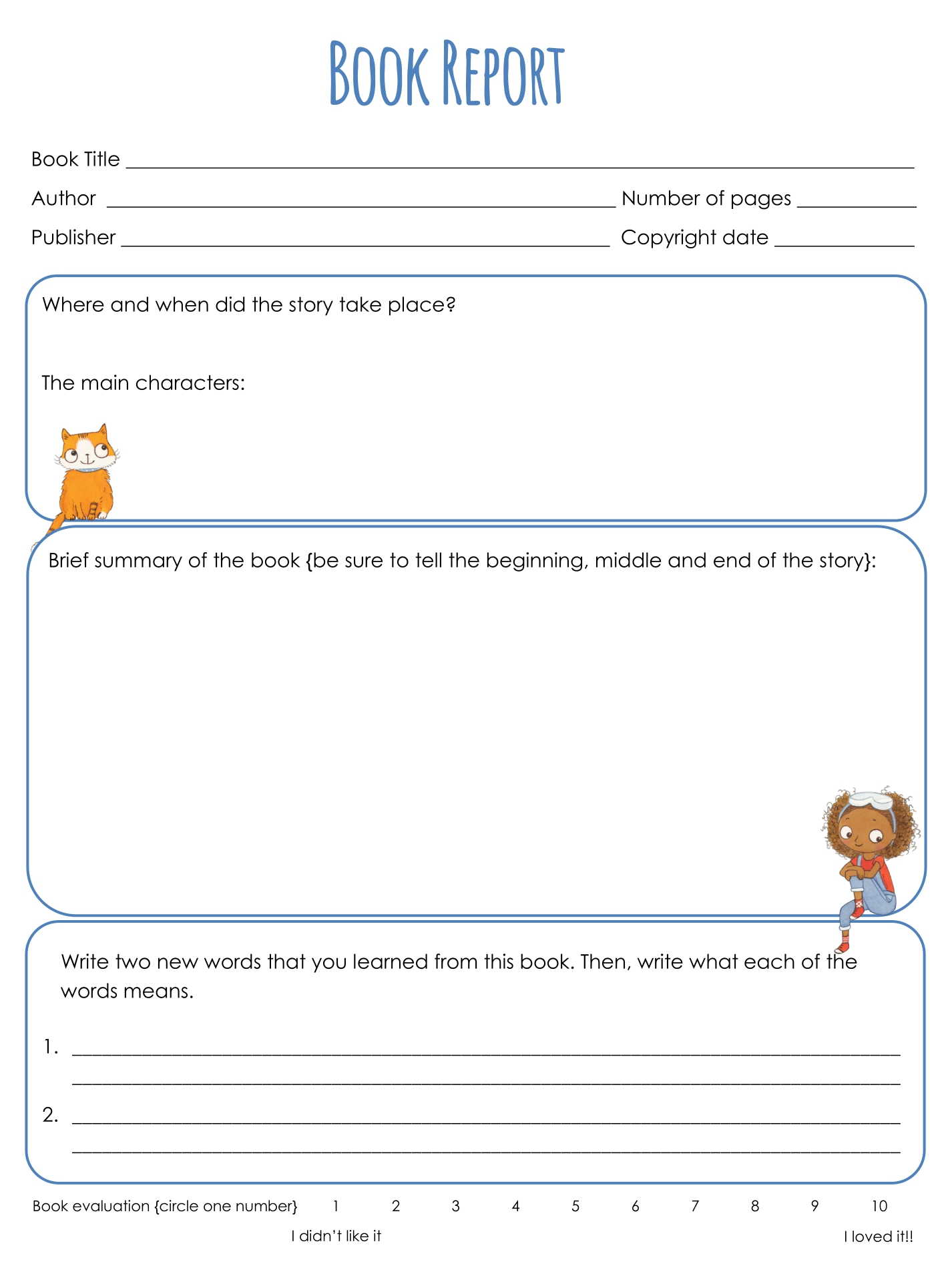 Printable Book Templates