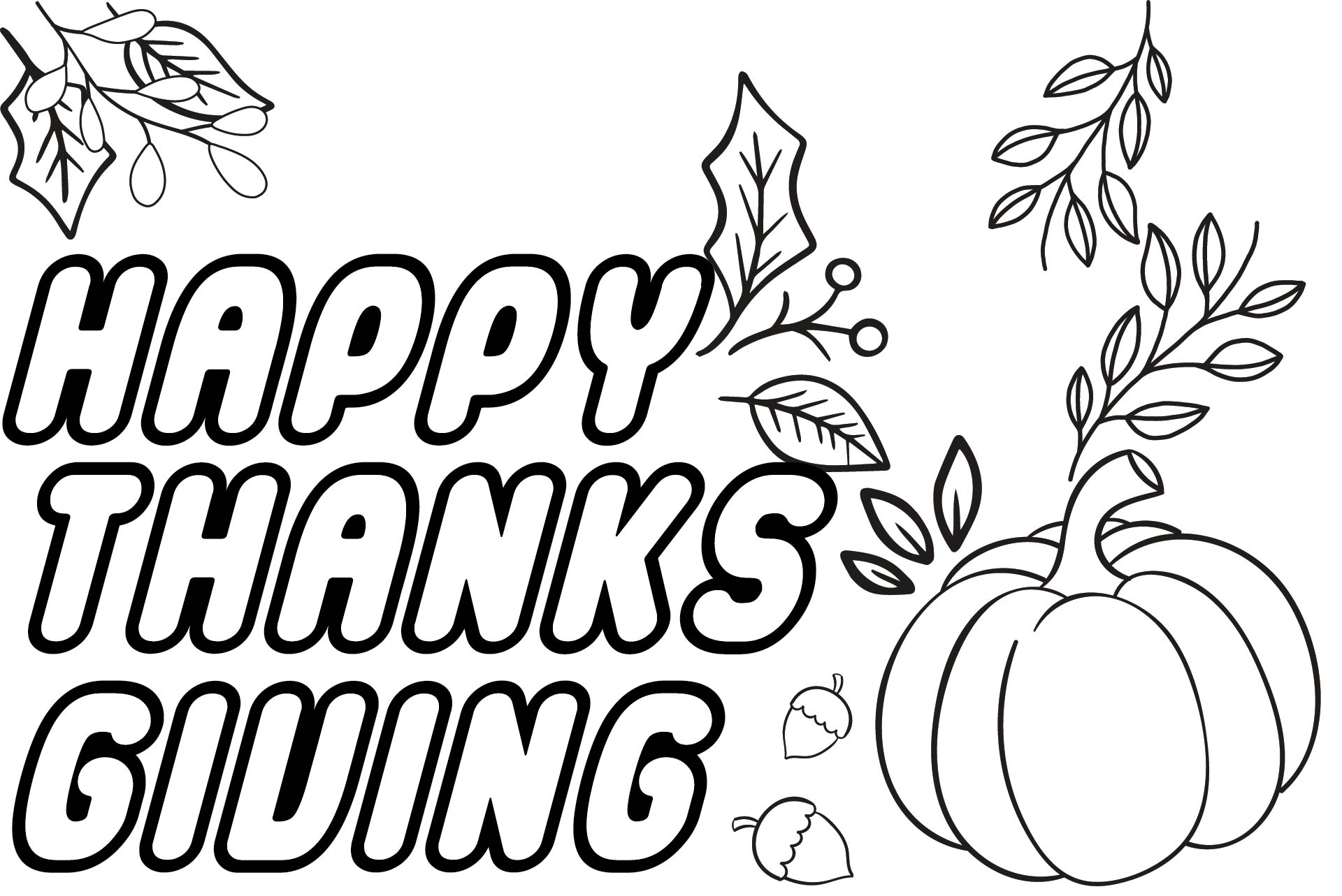 Thank You Printable Thanksgiving Color