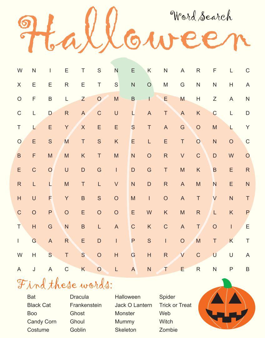 Long Halloween Word Search Printable