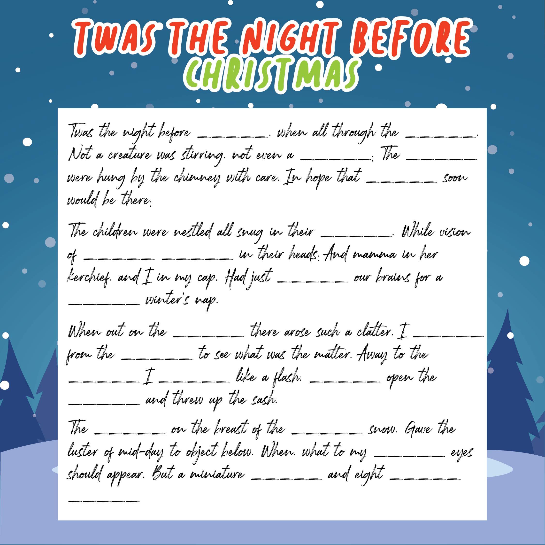 Night Before Christmas Mad Libs Printable