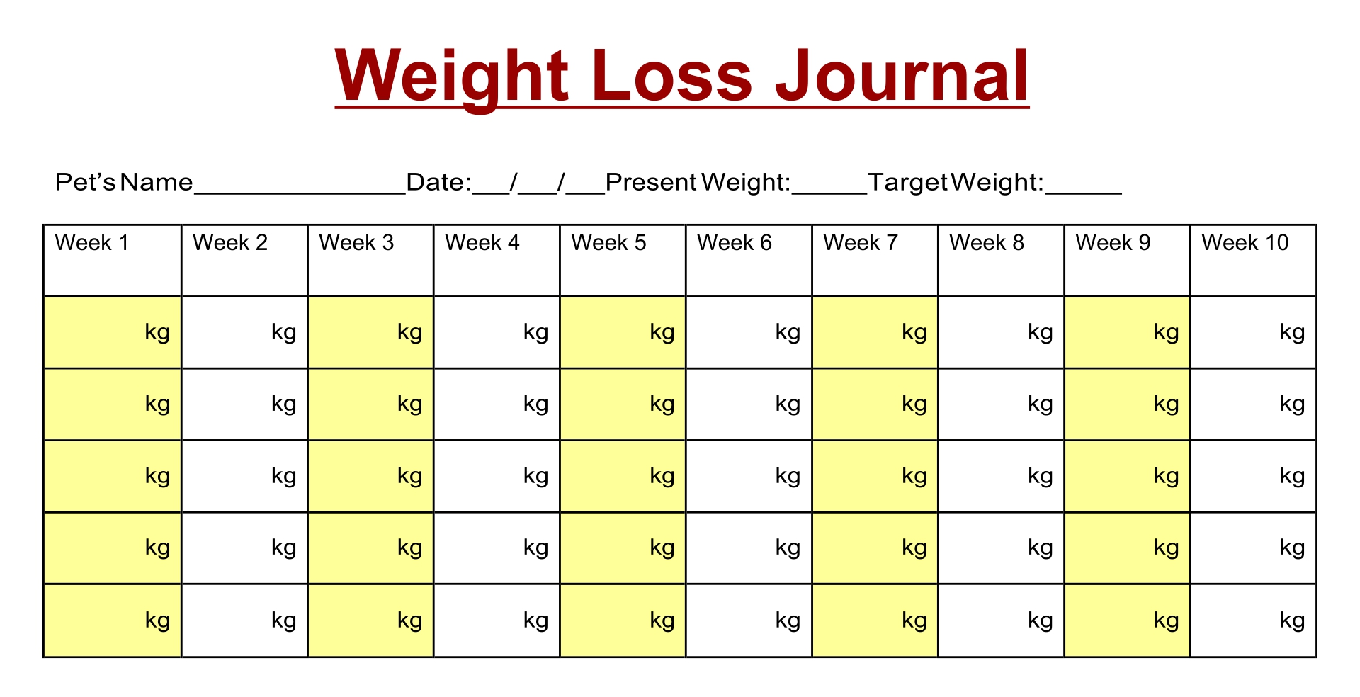 Printable Weight Journal Templates