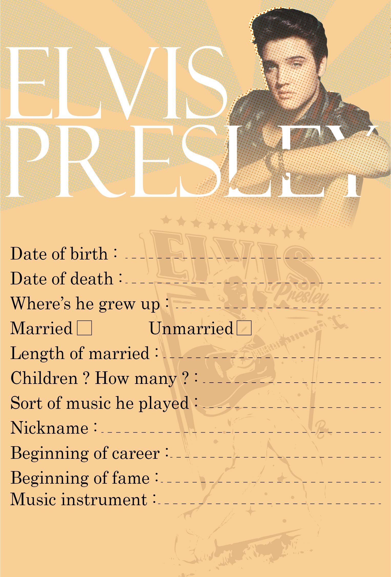 Elvis Presley Printable Games