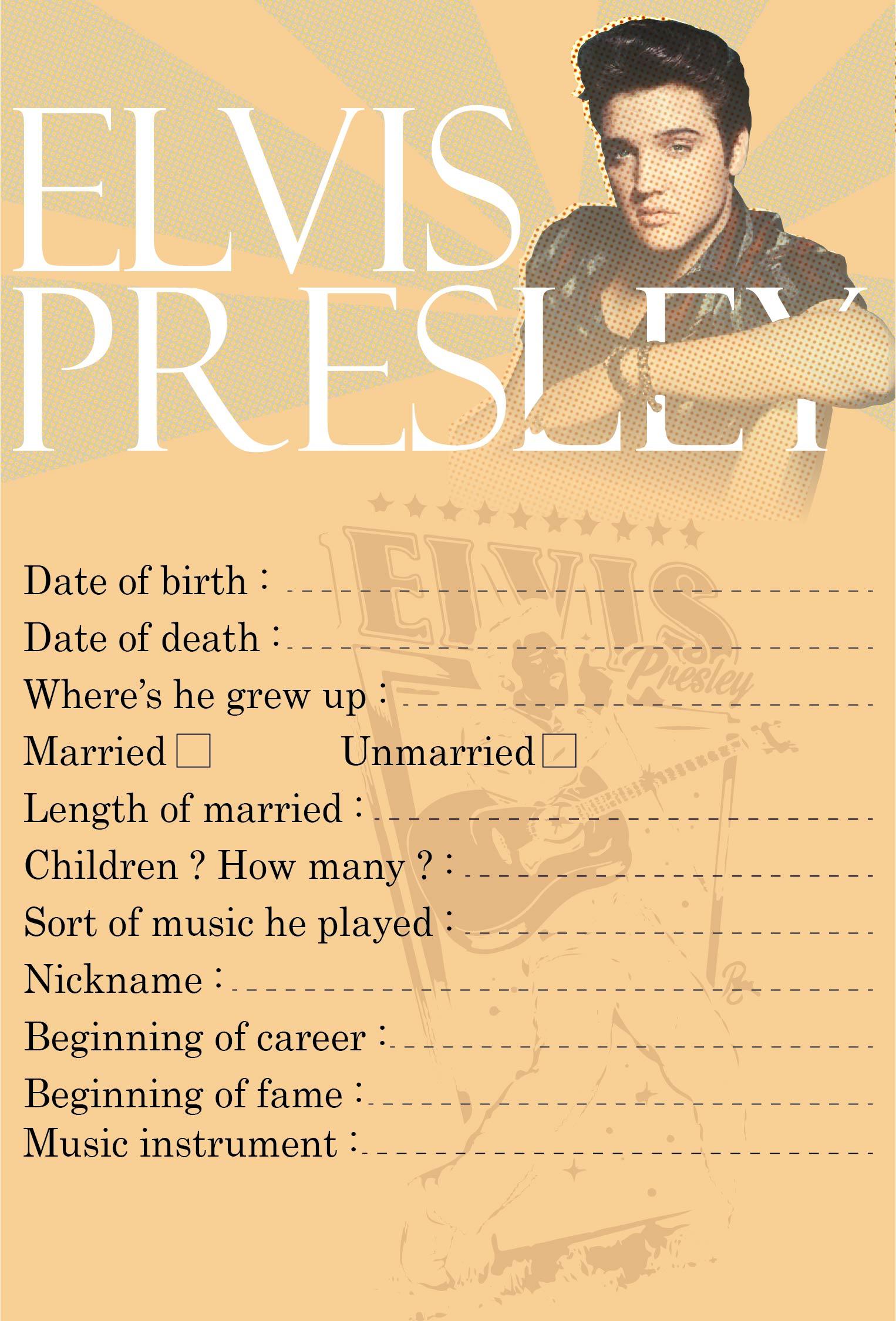 Elvis Presley Printable Games