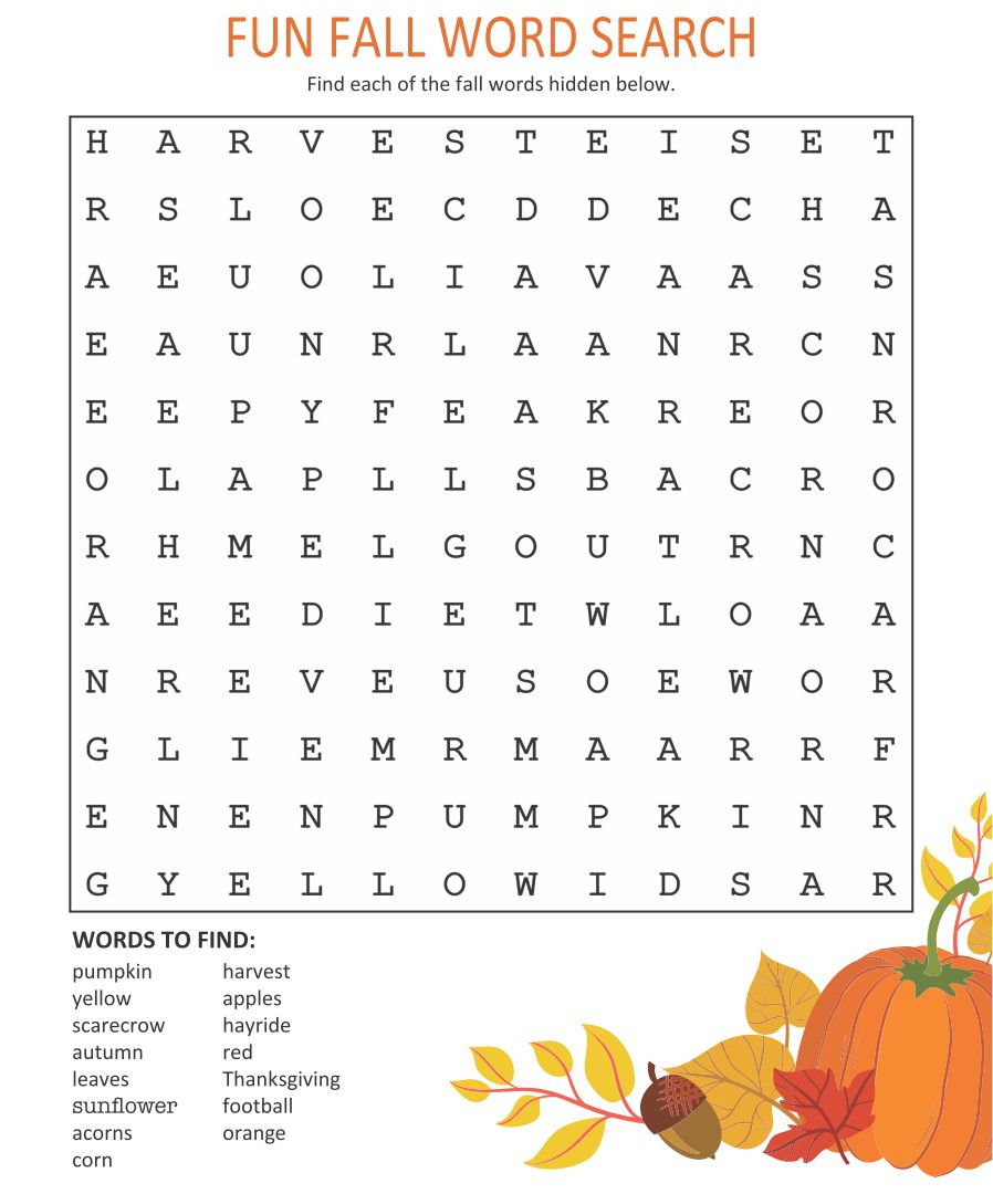 Printable Fall Word Searches