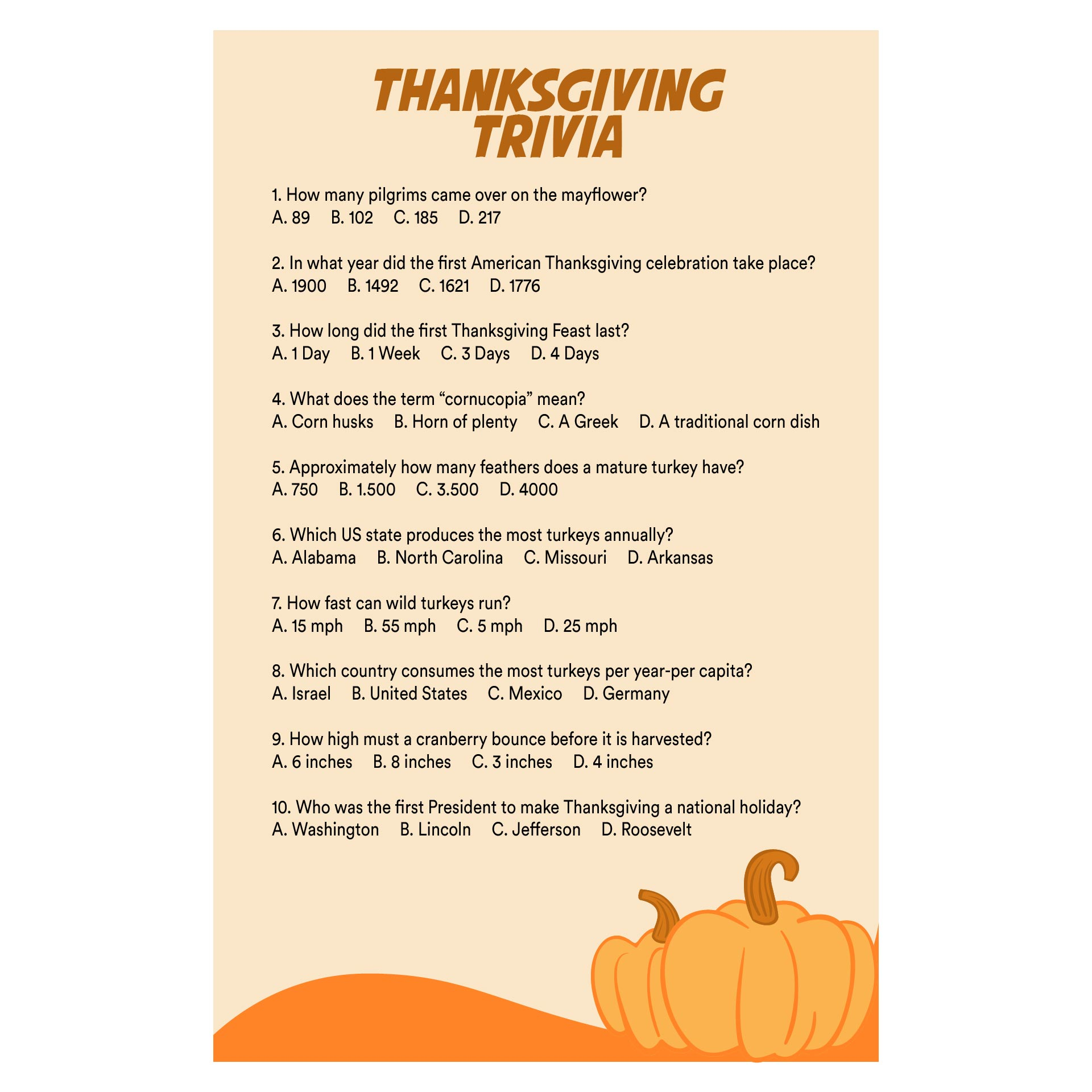 Printable Thanksgiving Trivia Quiz