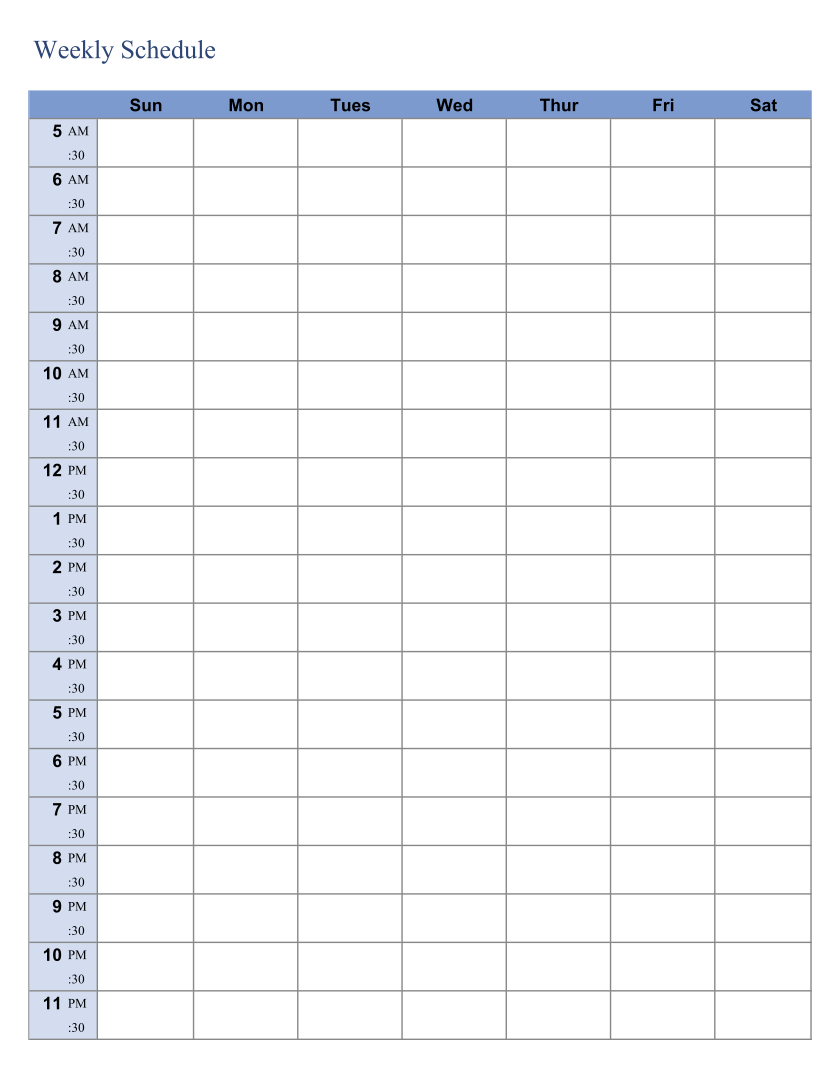 Printable Weekly Planner Schedule