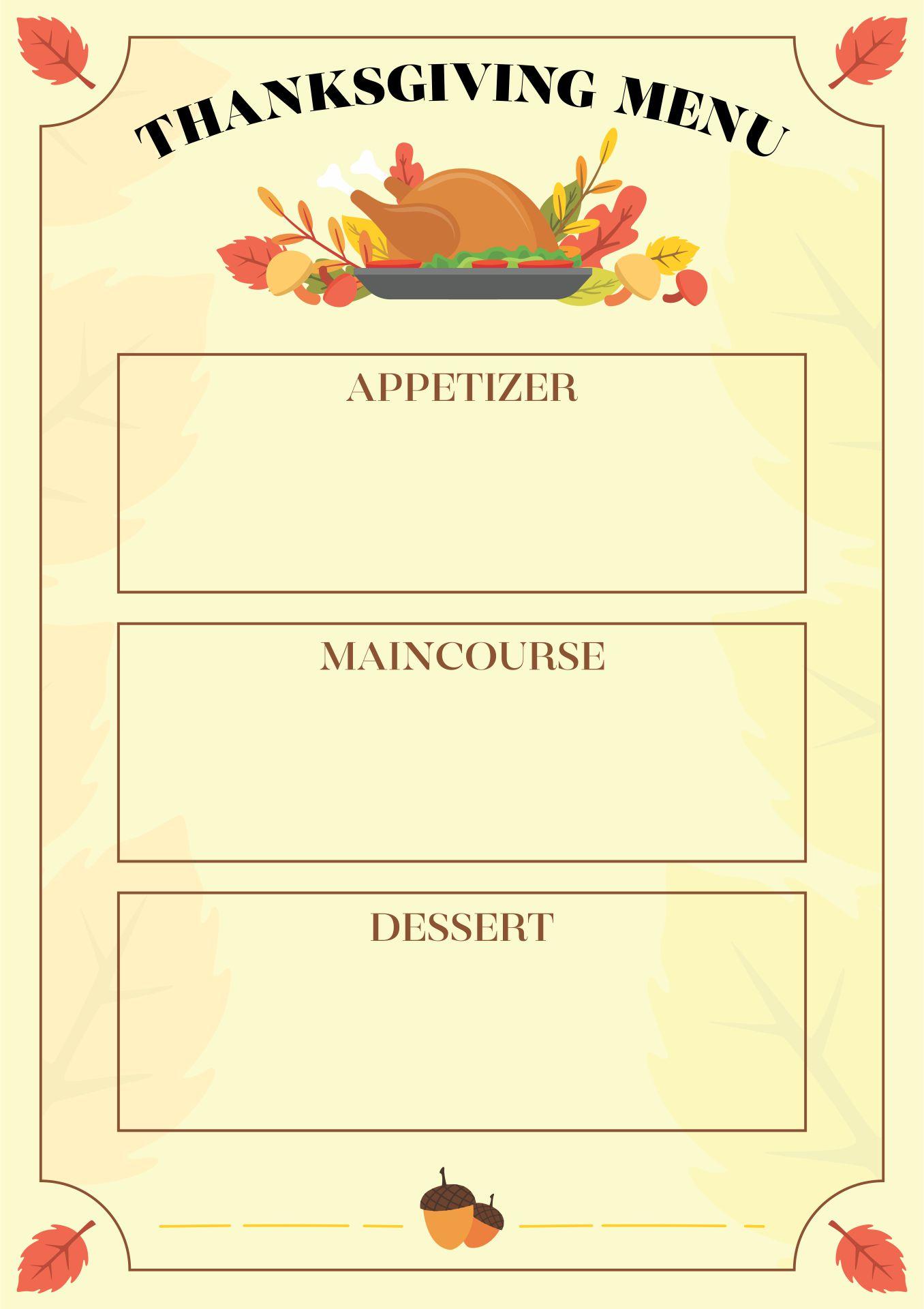 Printable Thanksgiving Menu Blank Template