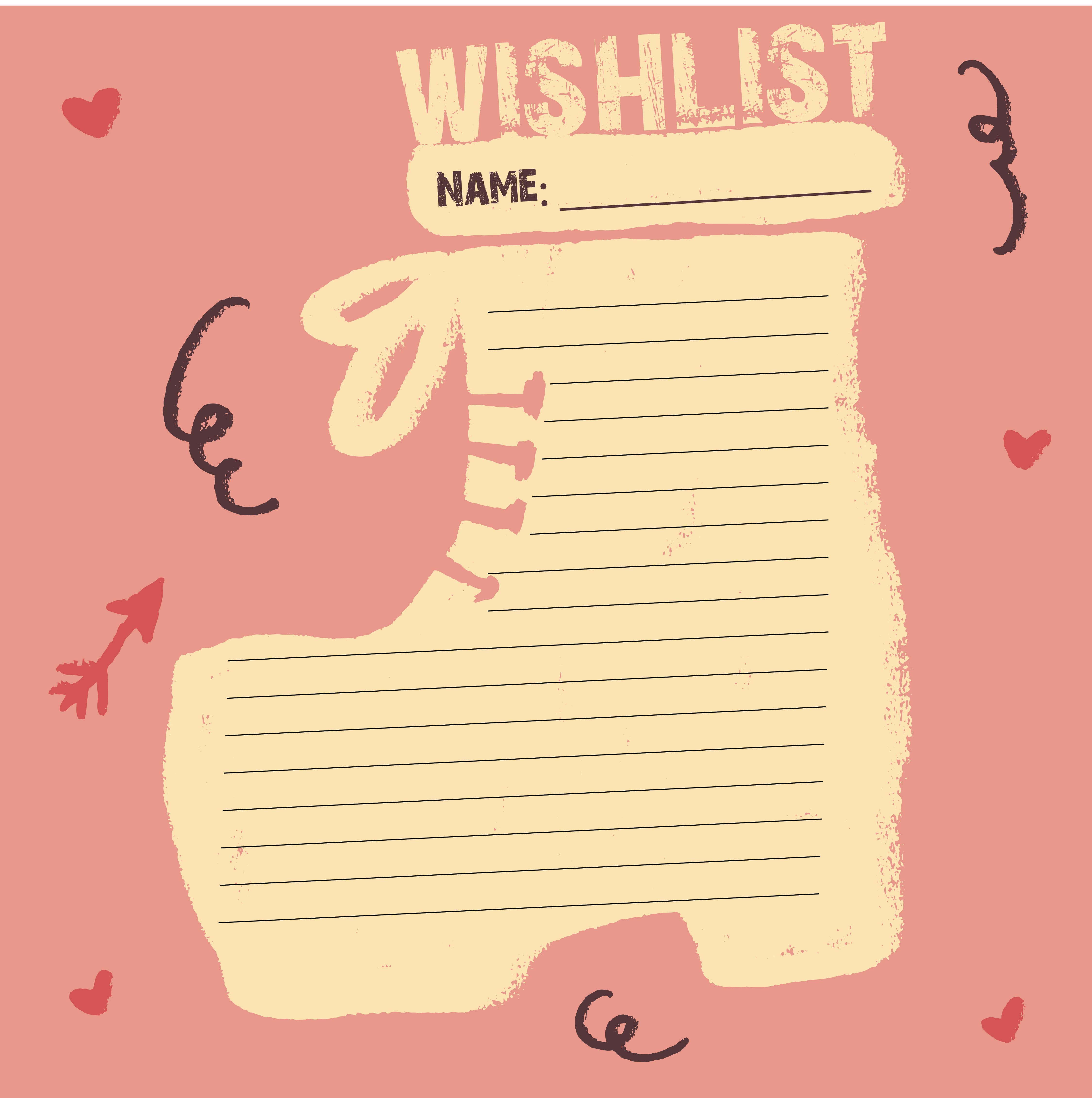 Printable Christmas Wish List Template
